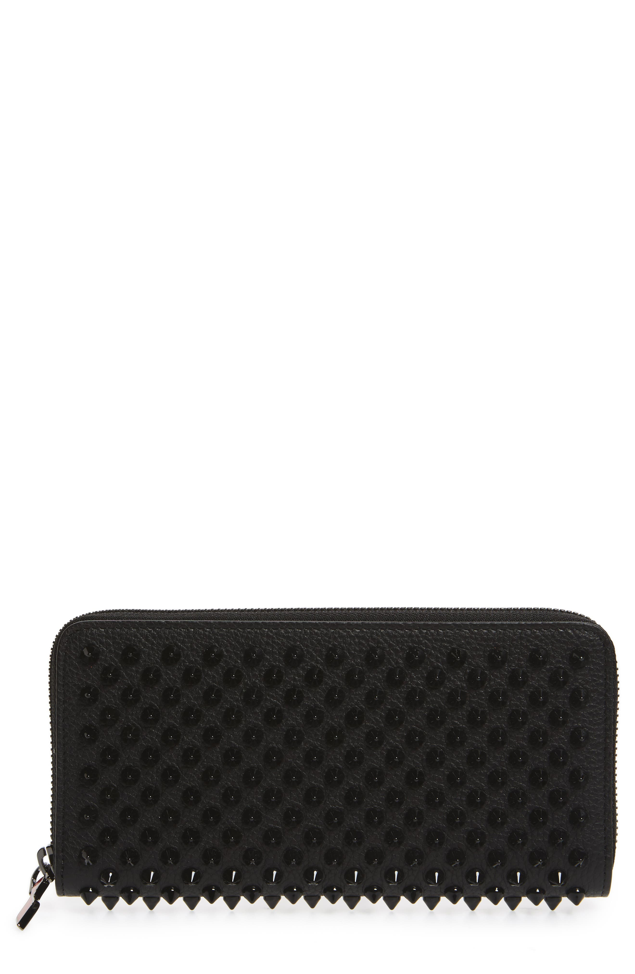 Panettone Spiked Calfskin Wallet,                             Main thumbnail 1, color,                             BLACK/ BLACK