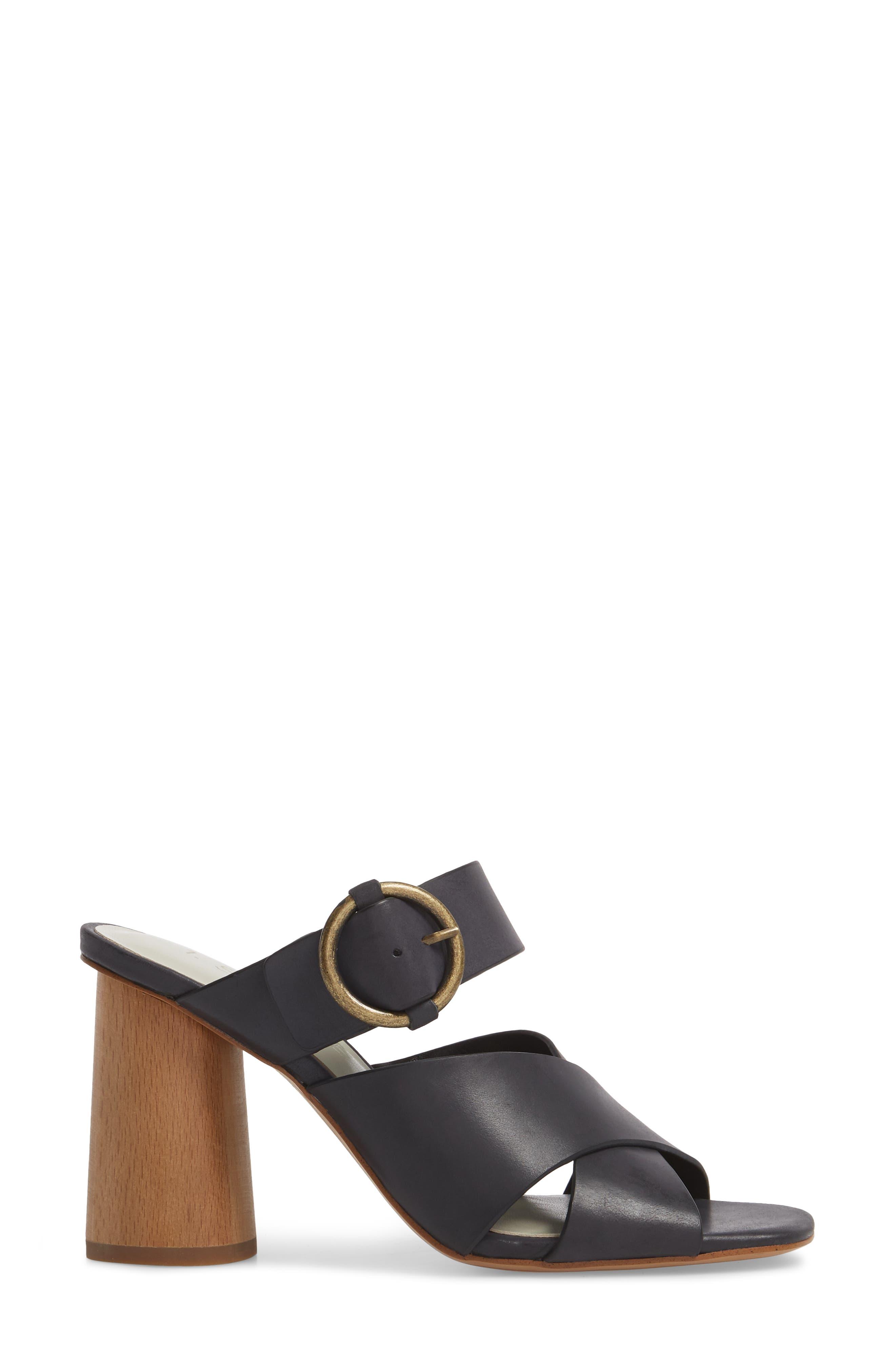 Icendra Flared Heel Mule Sandal,                             Alternate thumbnail 3, color,                             BLACK LEATHER