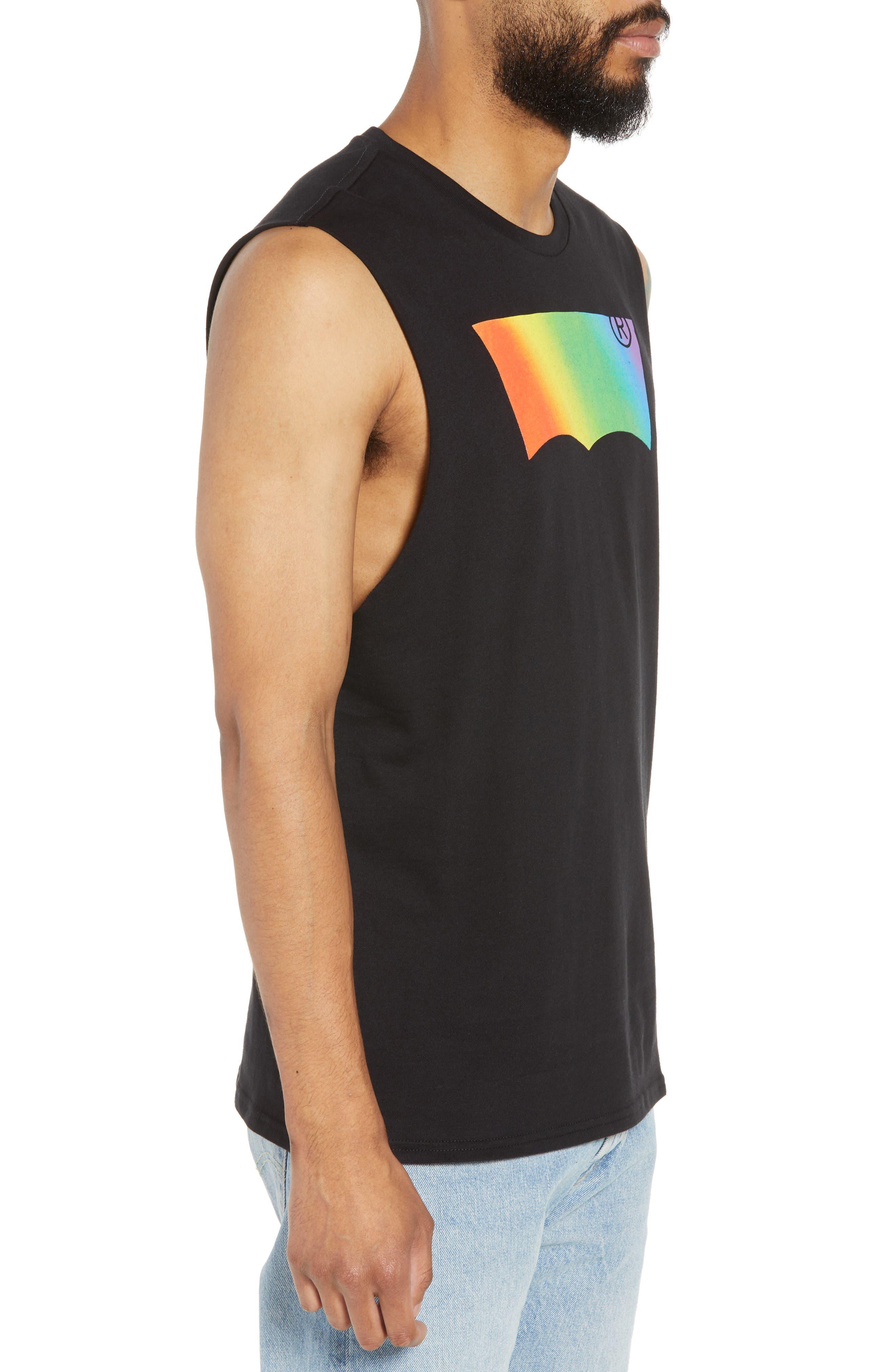 Community Sleeveless T-Shirt,                             Alternate thumbnail 3, color,                             RAINBOW GRADIENT BLACK
