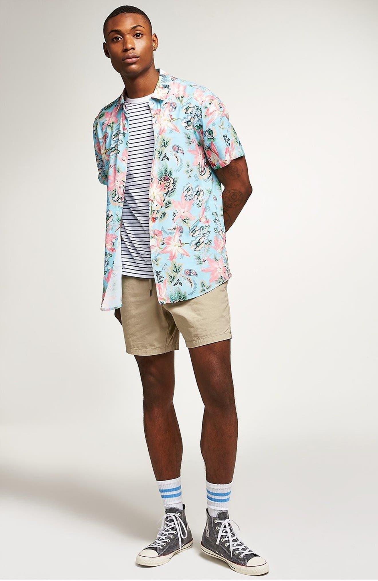 Floral Print Shirt,                             Alternate thumbnail 3, color,                             400