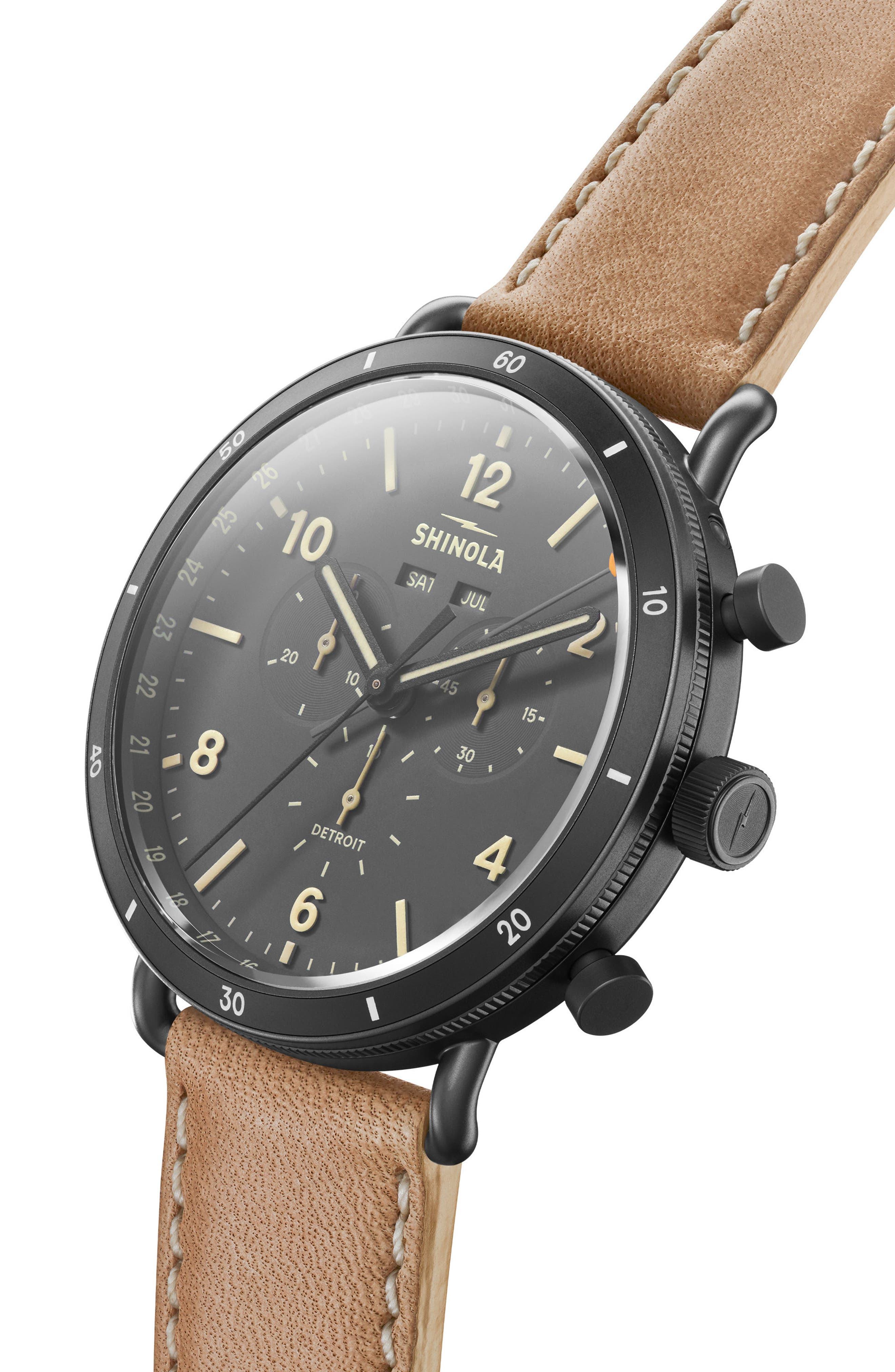 The Canfield Chrono Leather Strap Watch, 45mm,                             Alternate thumbnail 6, color,                             NATURAL/ GREY/ GUNMETAL