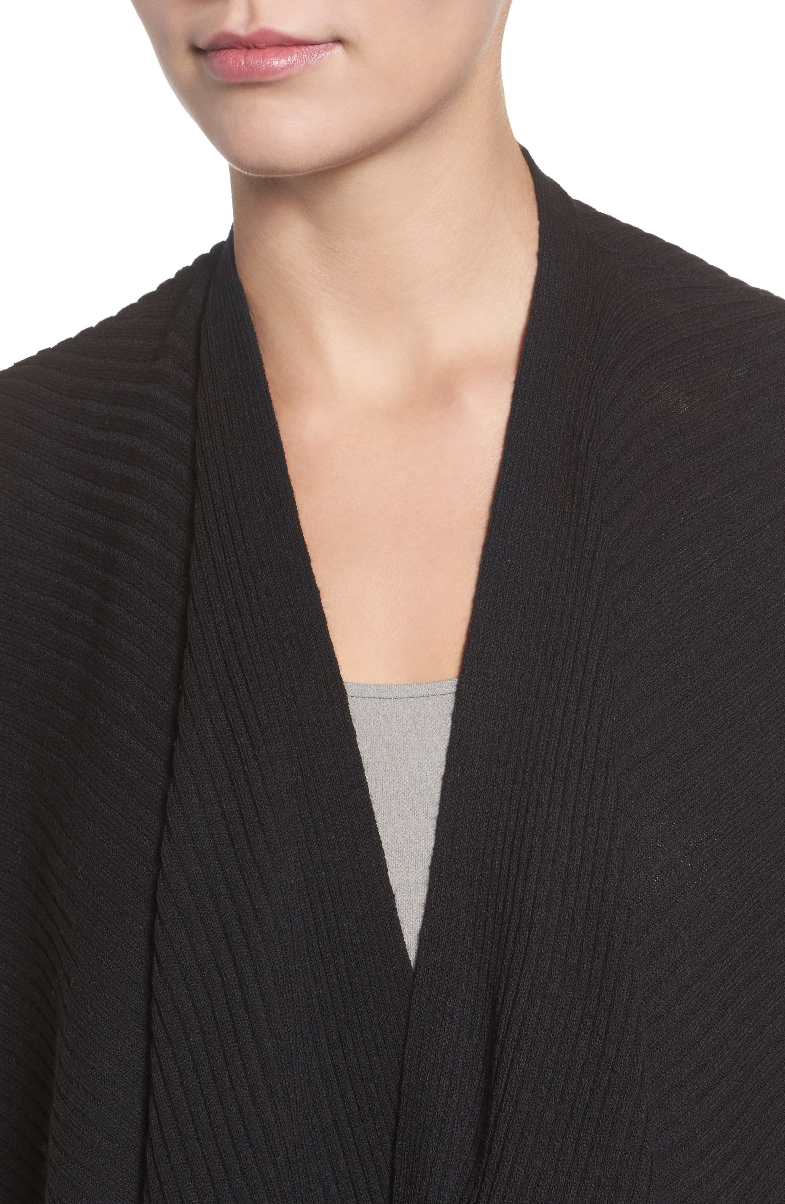 Drape Front Wool Cardigan,                             Alternate thumbnail 4, color,                             001