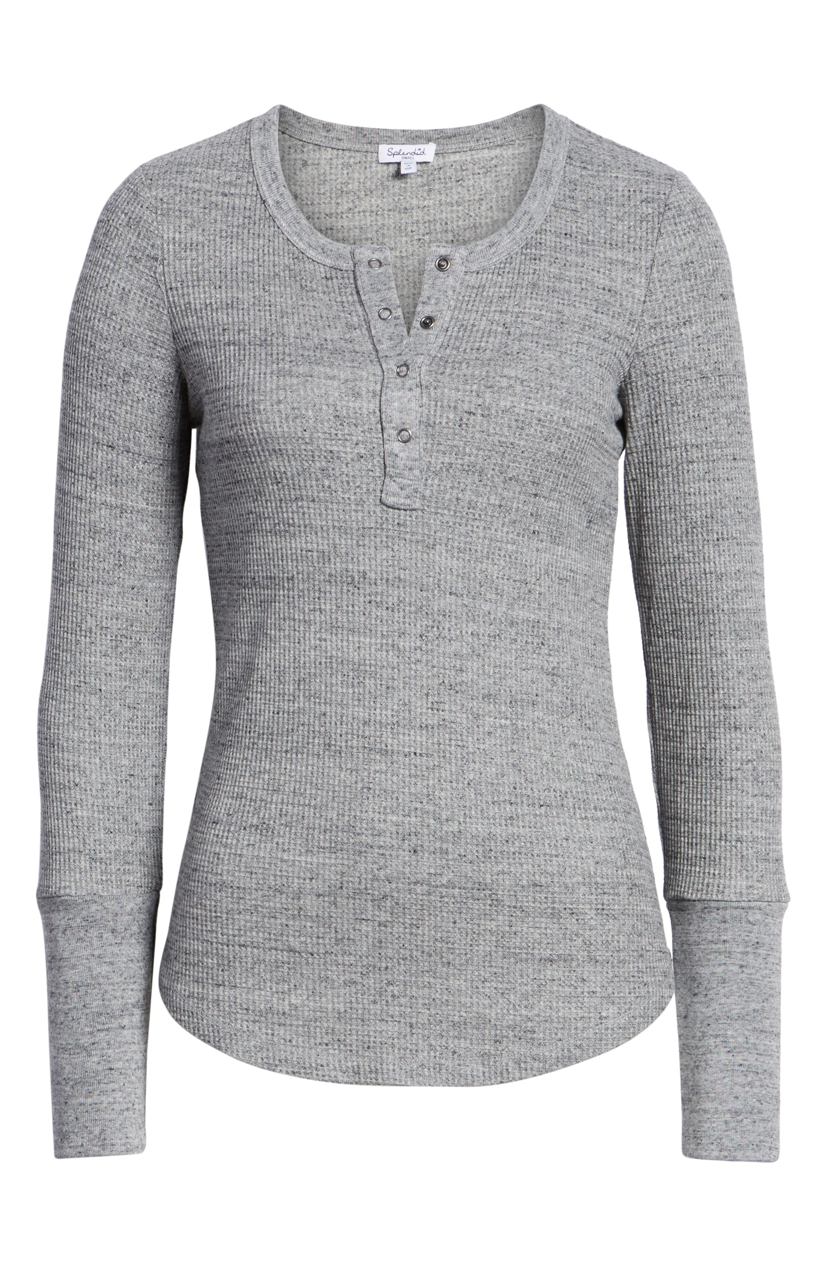 Thermal Henley Tee,                             Alternate thumbnail 6, color,                             HEATHER GREY