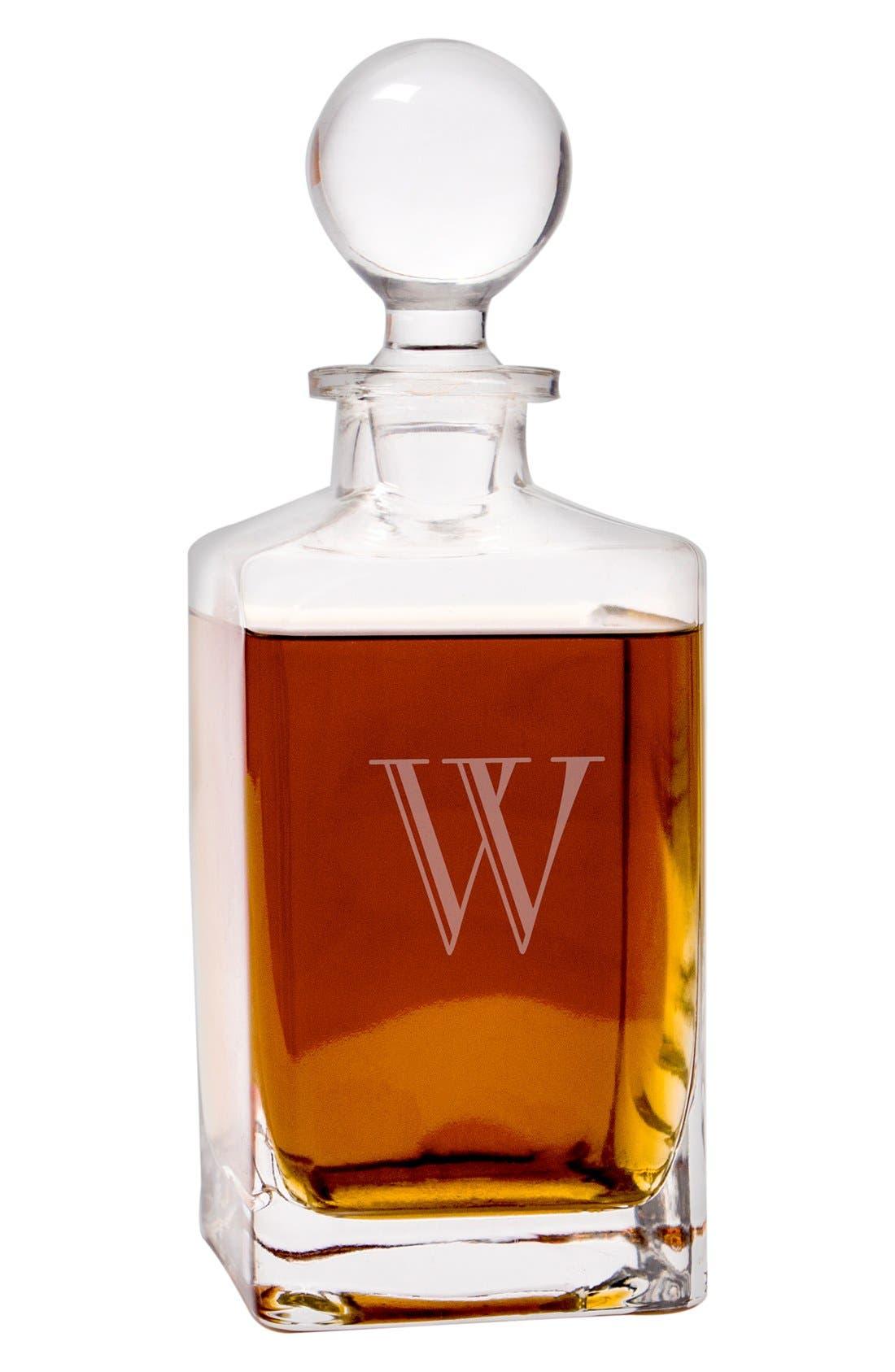 Monogram Whiskey Decanter & Stopper,                             Alternate thumbnail 3, color,                             L