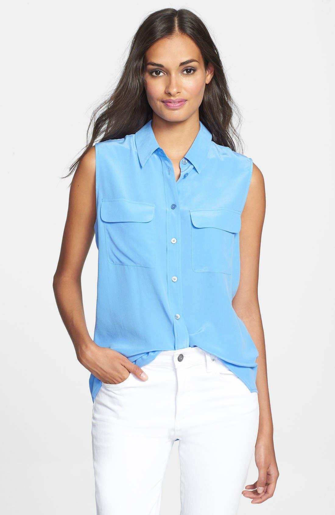 'Slim Signature' Sleeveless Silk Shirt,                             Main thumbnail 27, color,