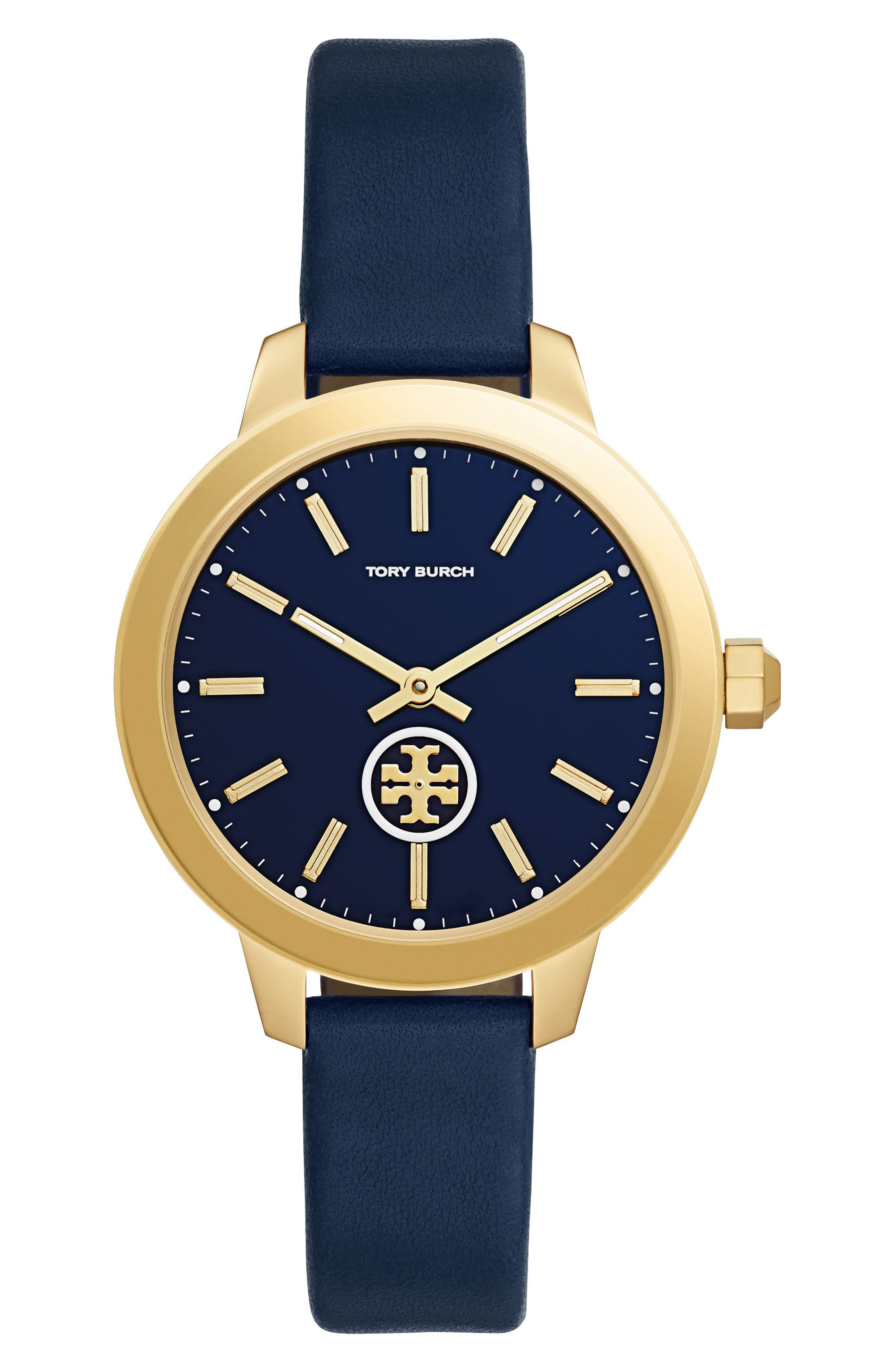 Collins Leather Strap Watch, 38mm,                         Main,                         color, NAVY/ GOLD