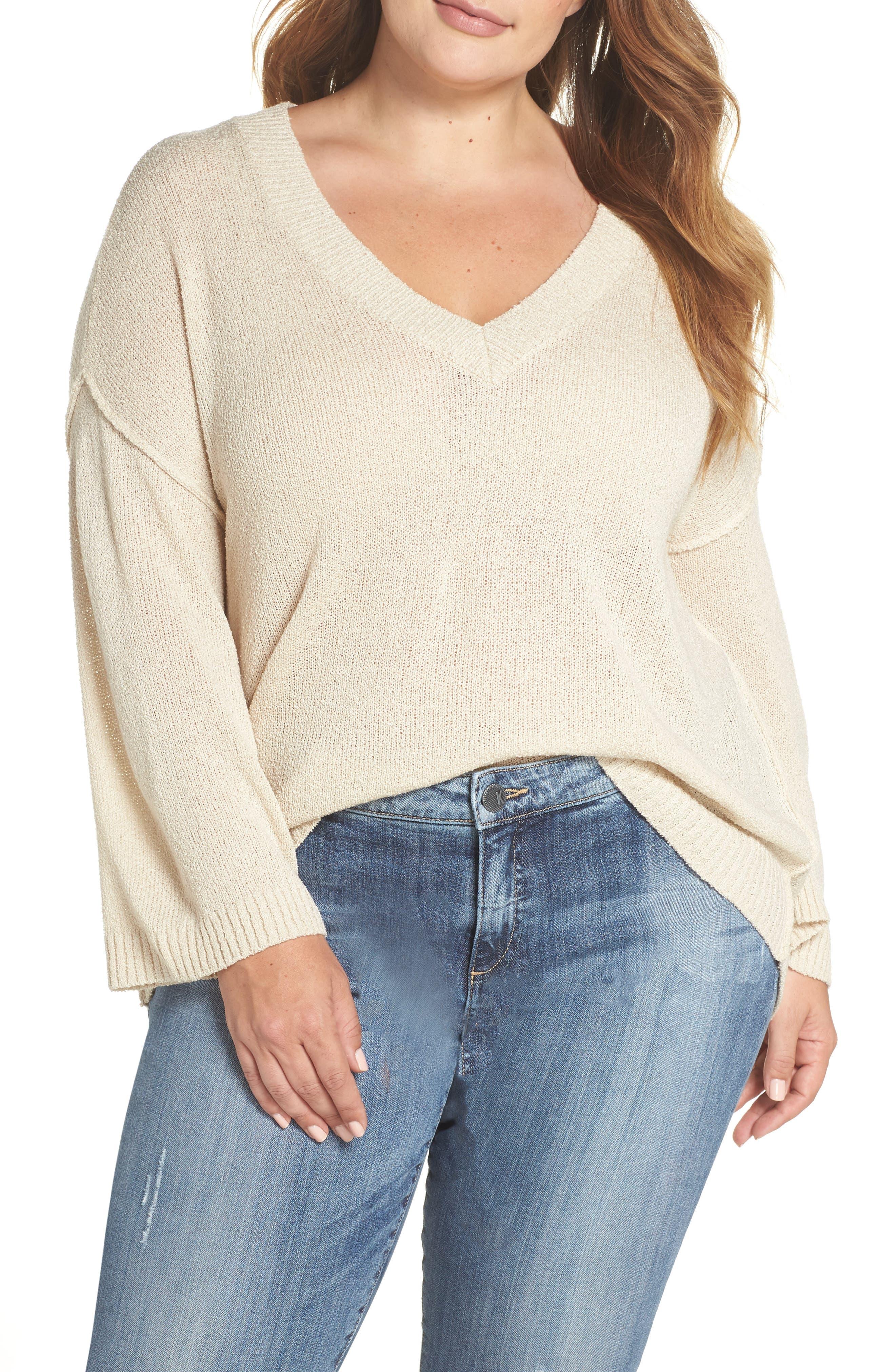 Exposed Seam Sweater,                         Main,                         color, BEIGE BIRCH