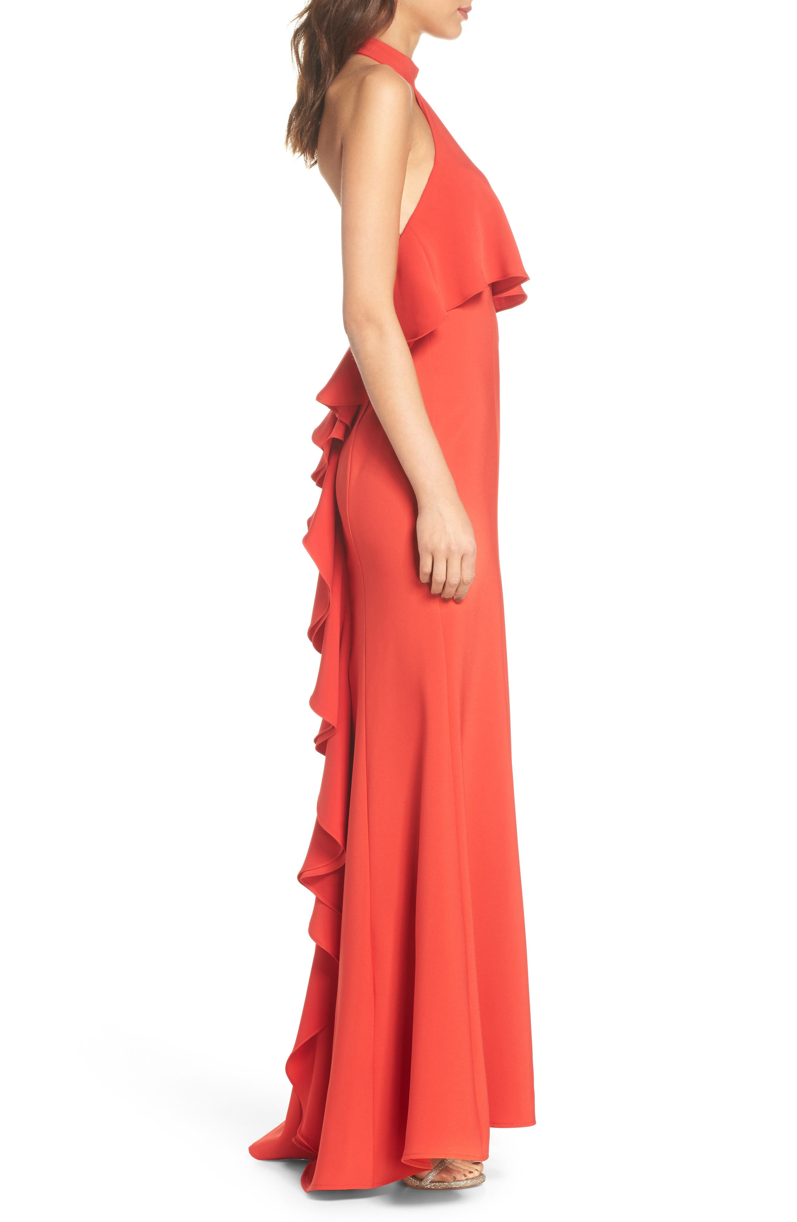 Crepe Popover Halter Gown,                             Alternate thumbnail 3, color,                             602