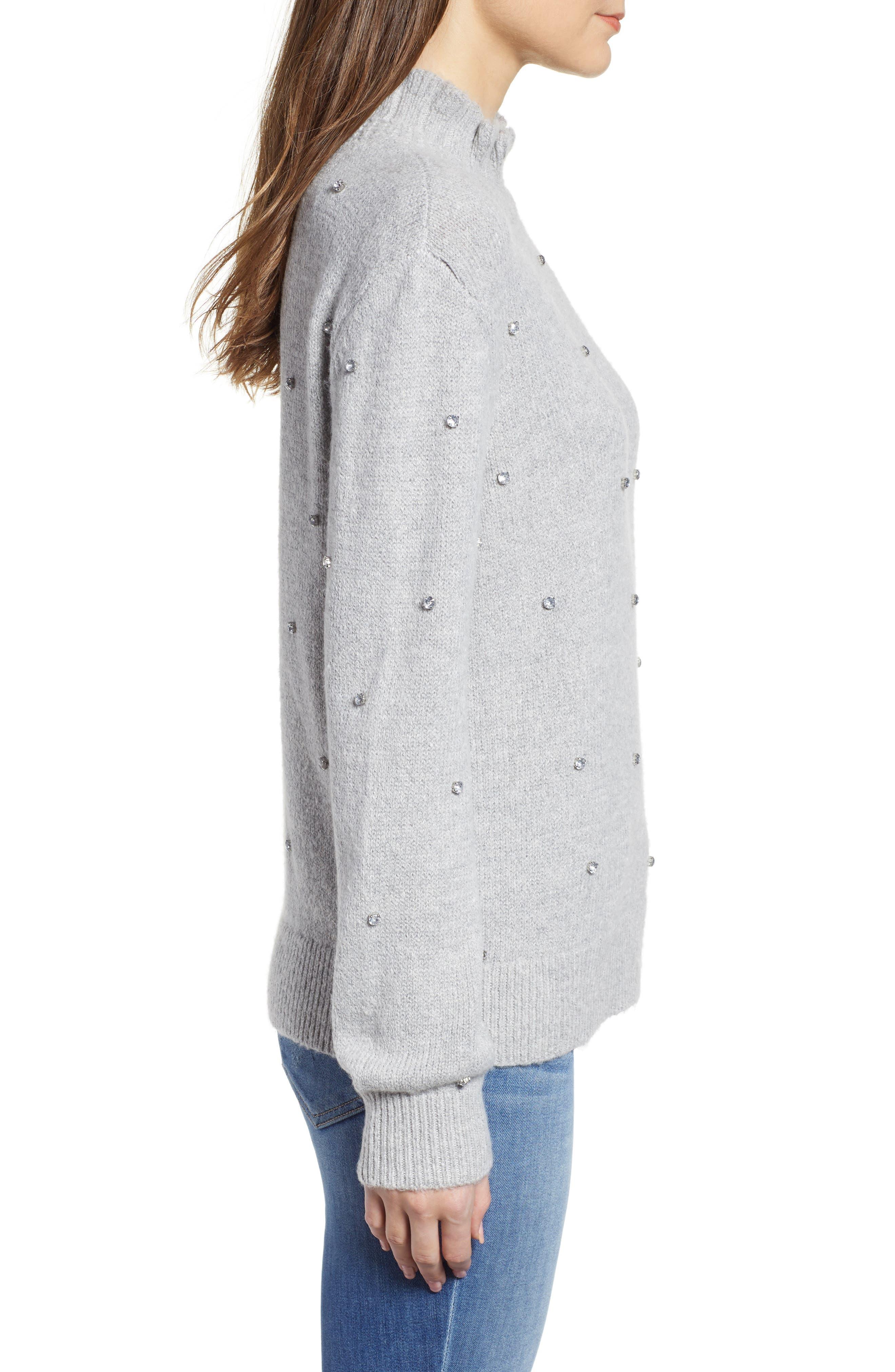 Embellished Ruffle Neck Sweater,                             Alternate thumbnail 3, color,                             GREY LIGHT HEATHER