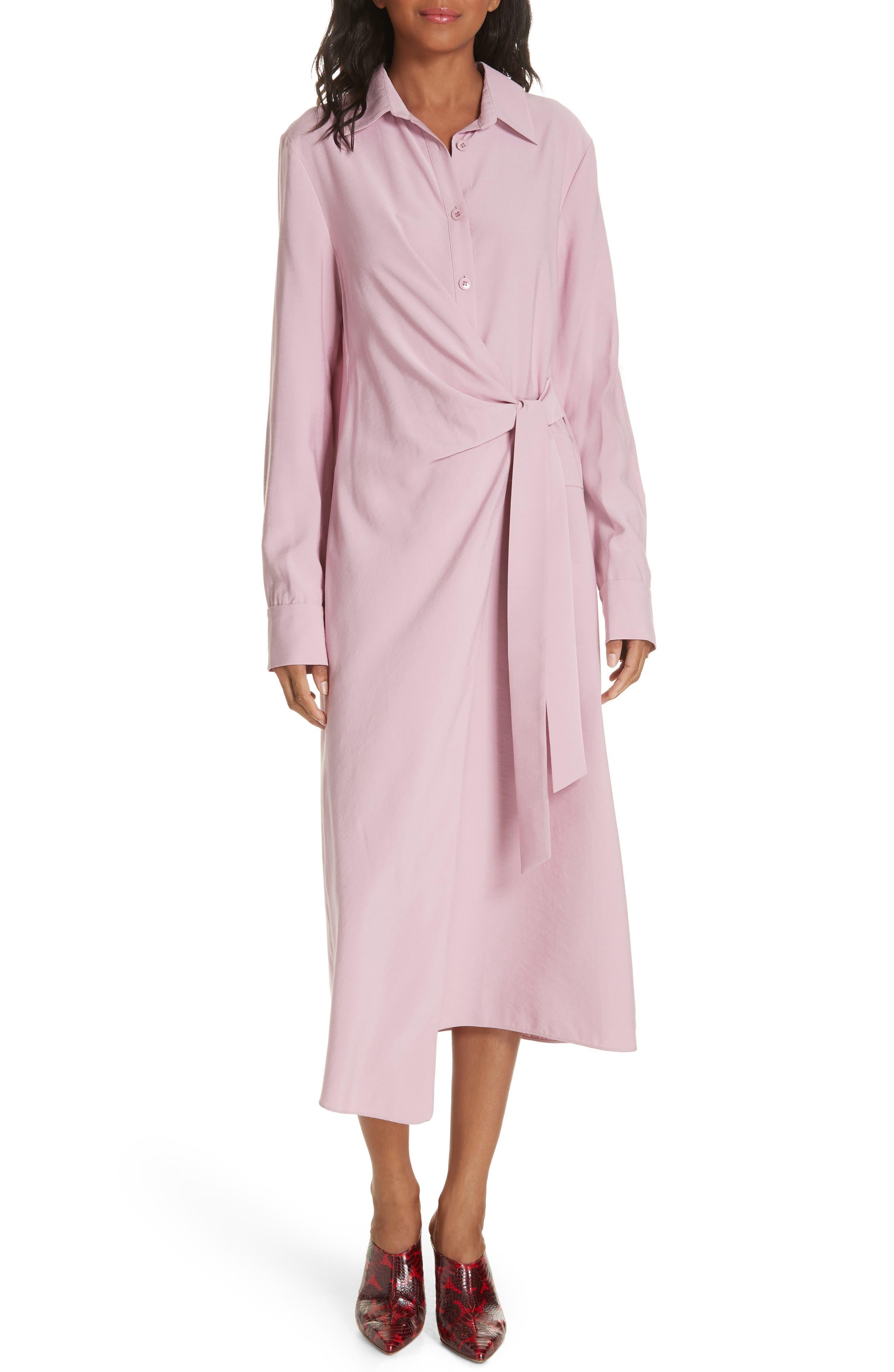 Tibi Twill Shirtdress, Pink