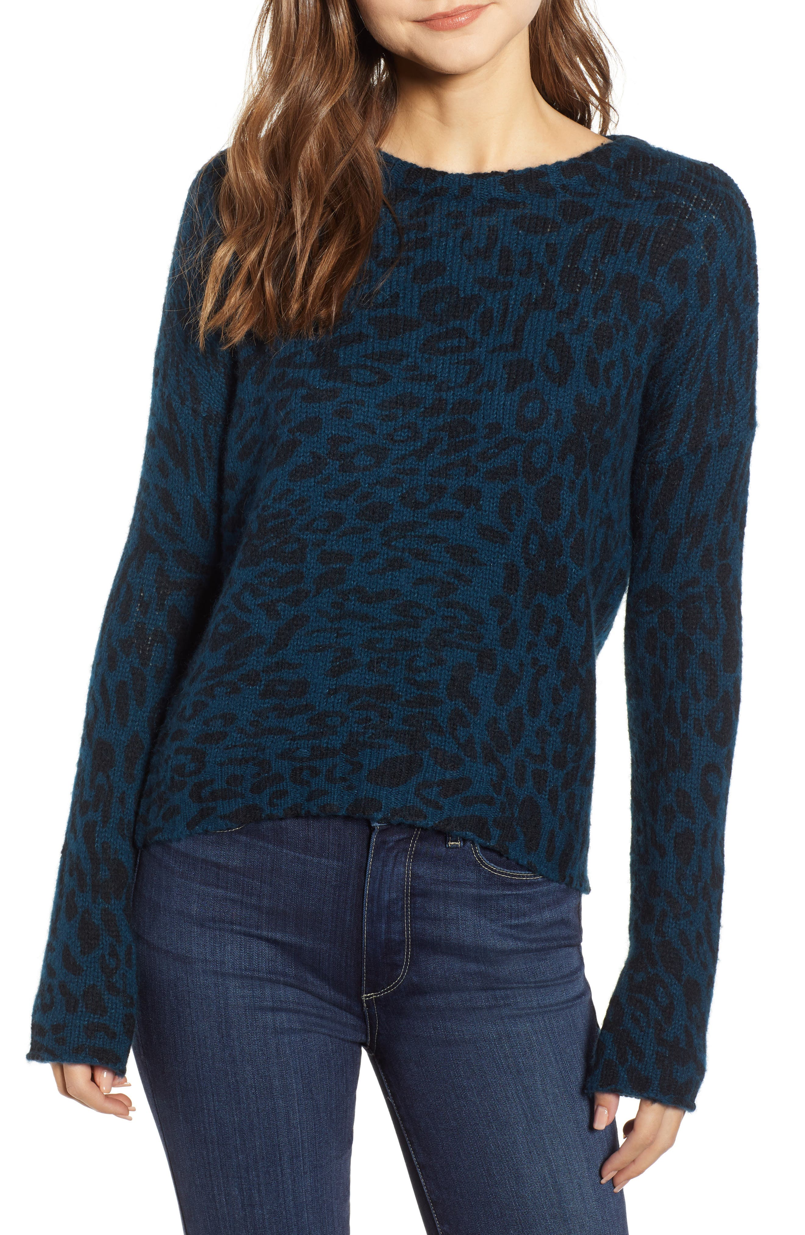 Donovan Animal Print Sweater,                             Main thumbnail 1, color,                             BLUE LEOPARD