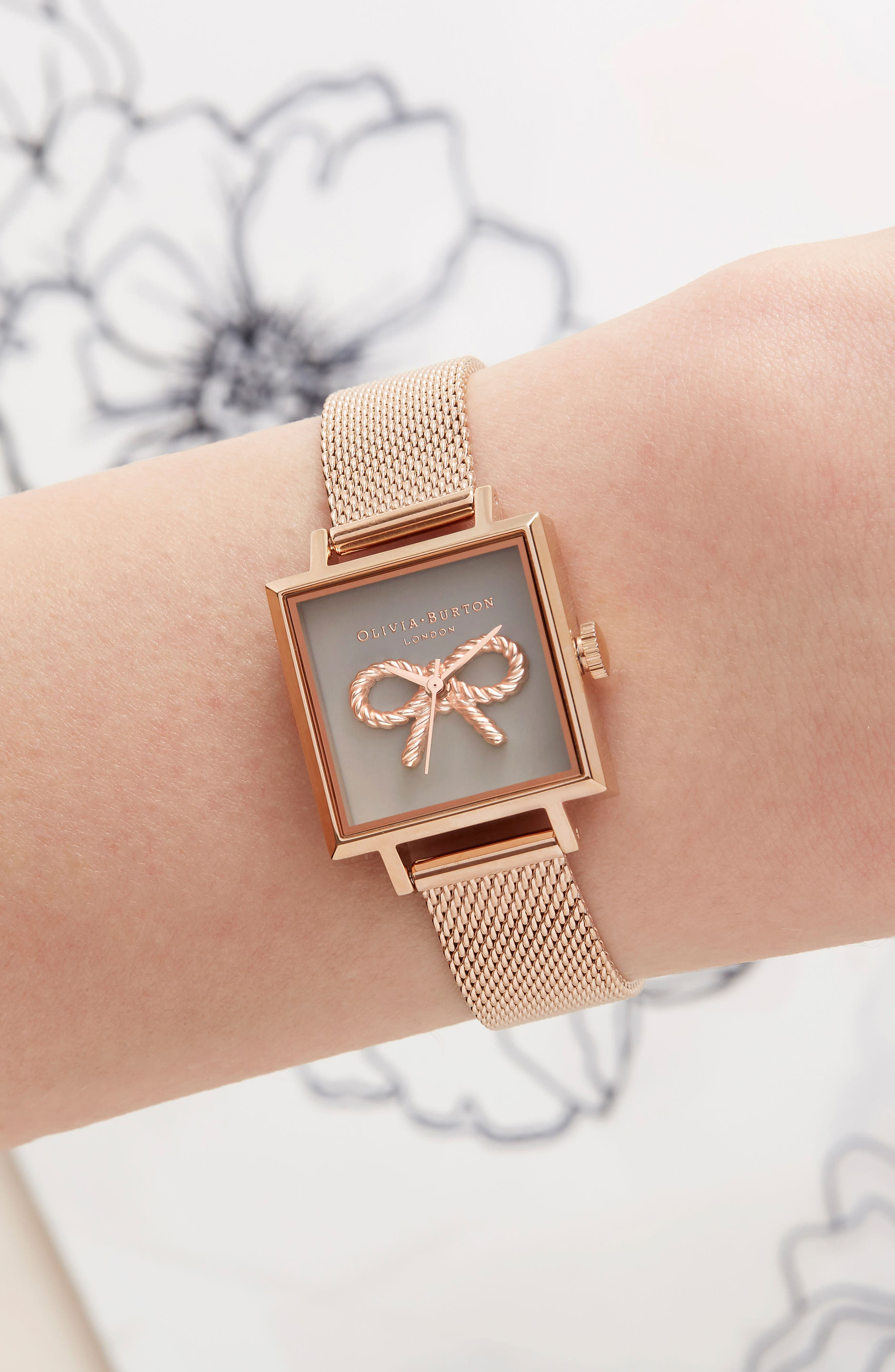 Vintage Bow Square Mesh Strap Watch, 23mm,                             Alternate thumbnail 6, color,                             ROSE GOLD/ BOW/ ROSE GOLD