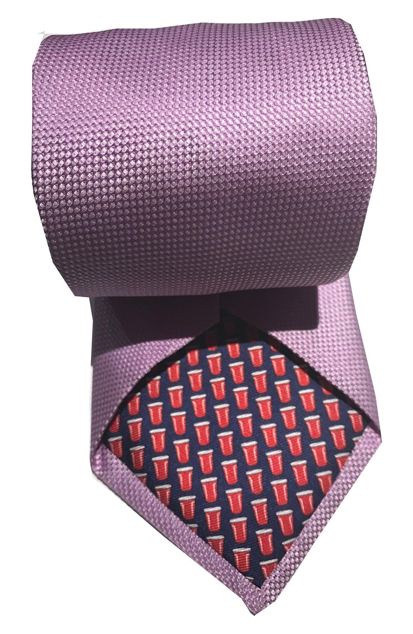 Mullet Silk Tie,                             Alternate thumbnail 2, color,                             LAVENDER