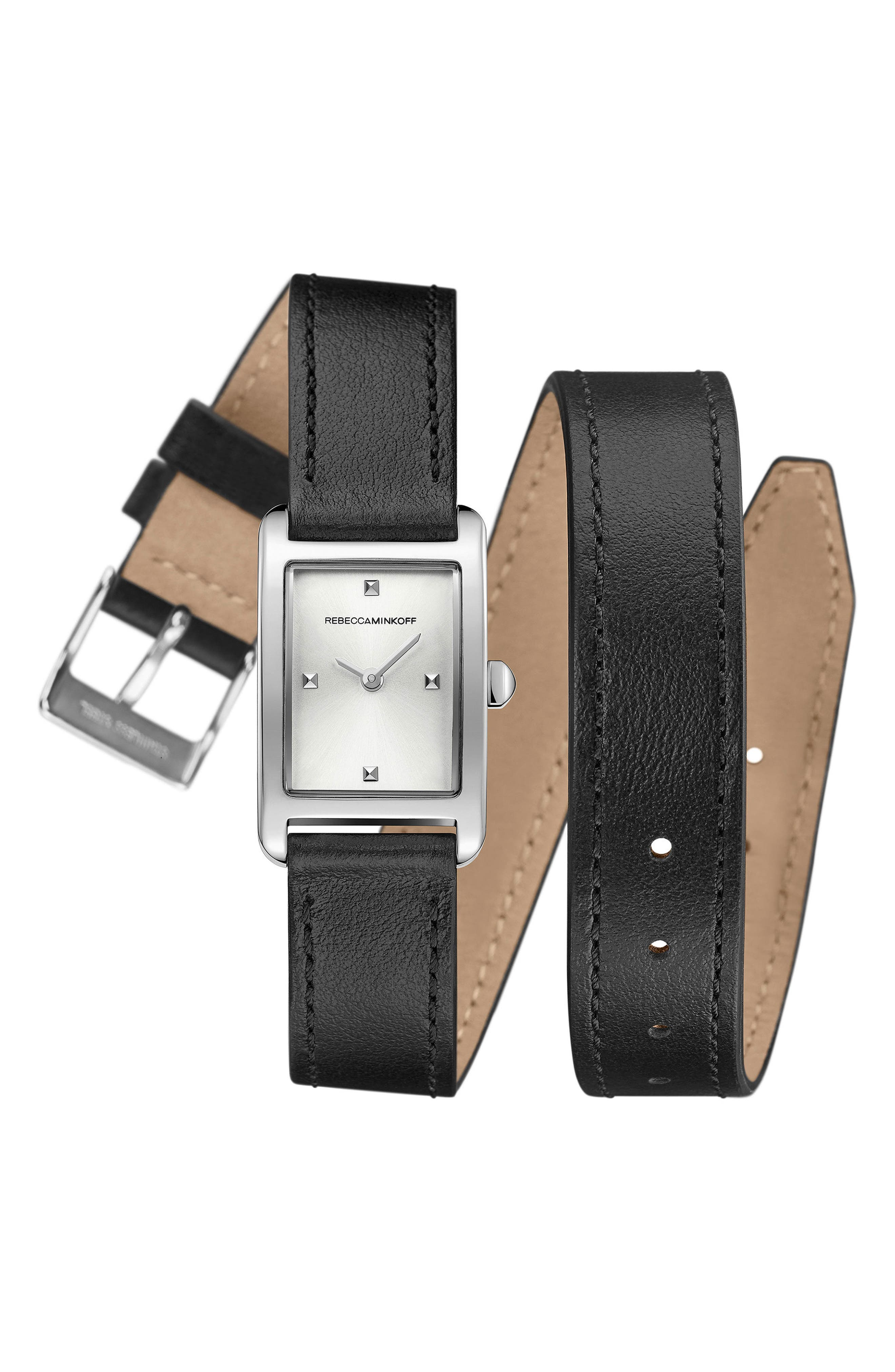 Moment Wrap Leather Strap Watch, 19mm x 30mm,                             Main thumbnail 1, color,                             001