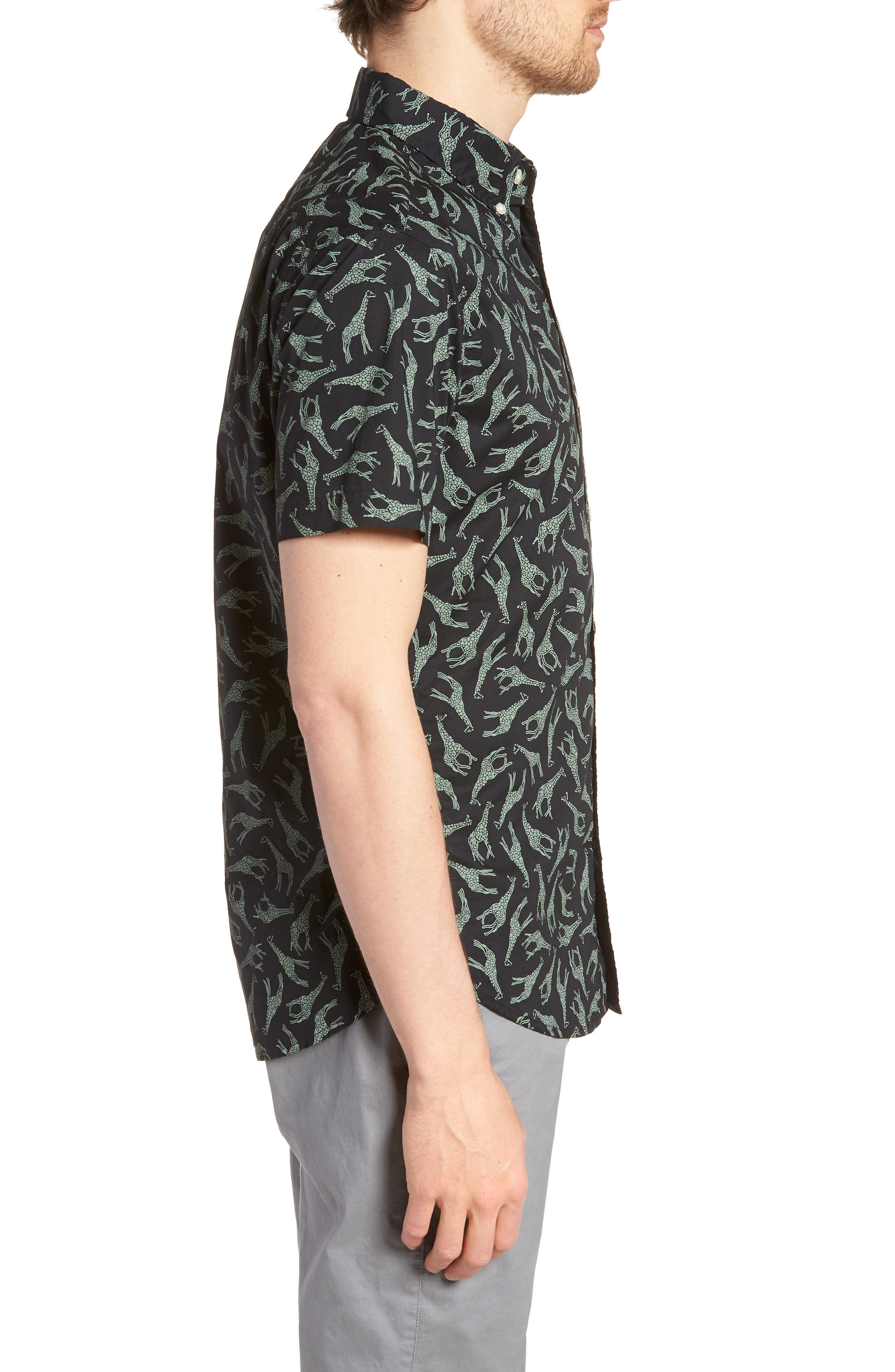 BONOBOS,                             Riviera Slim Fit Giraffe Print Sport Shirt,                             Alternate thumbnail 3, color,                             001