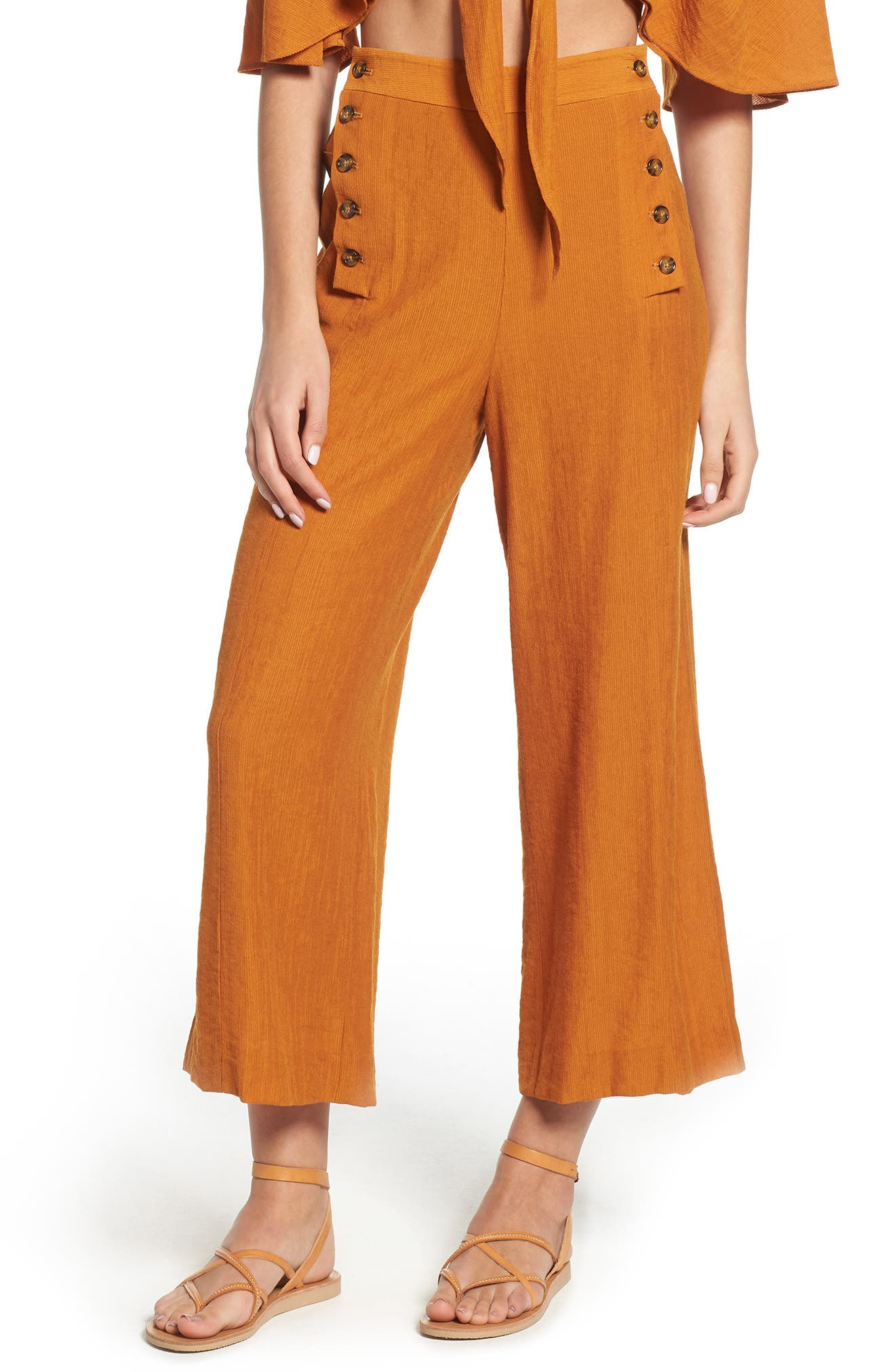 THE EAST ORDER Textured Cropped Sailor Pants in Pumpkin Spice