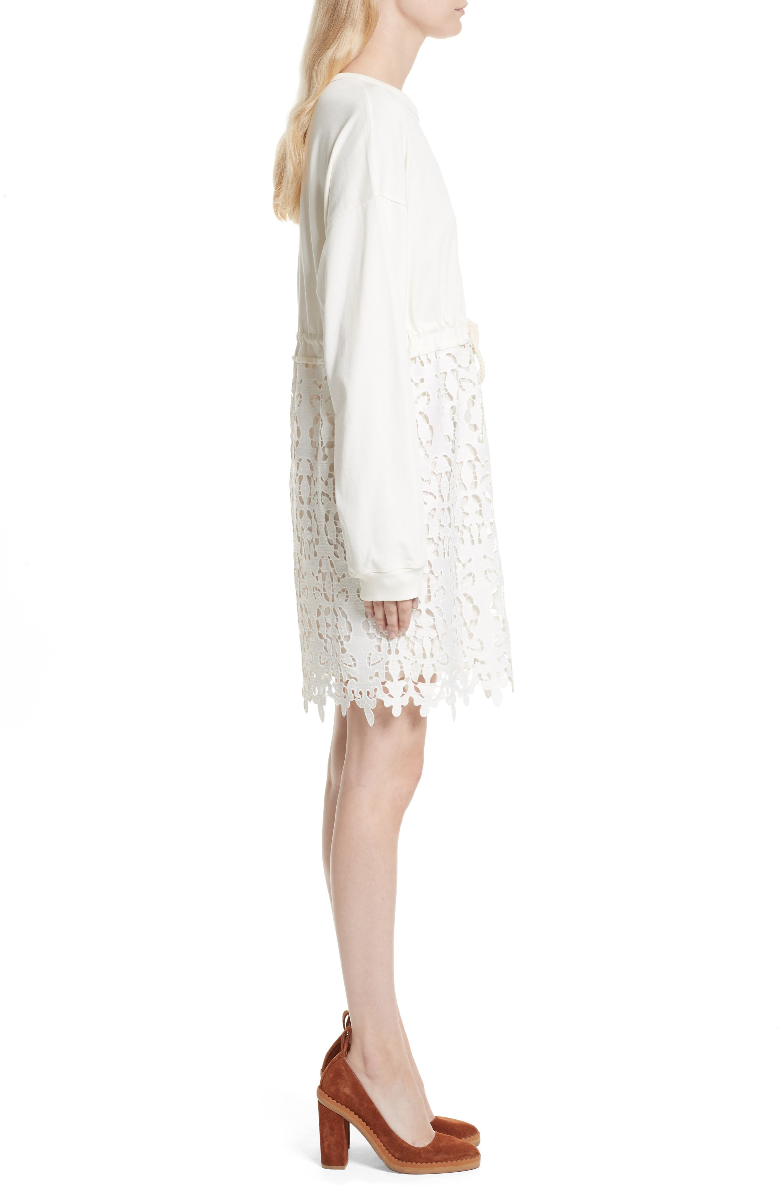 SEE BY CHLOÉ,                             Lace Skirt Sweatshirt Dress,                             Alternate thumbnail 3, color,                             101