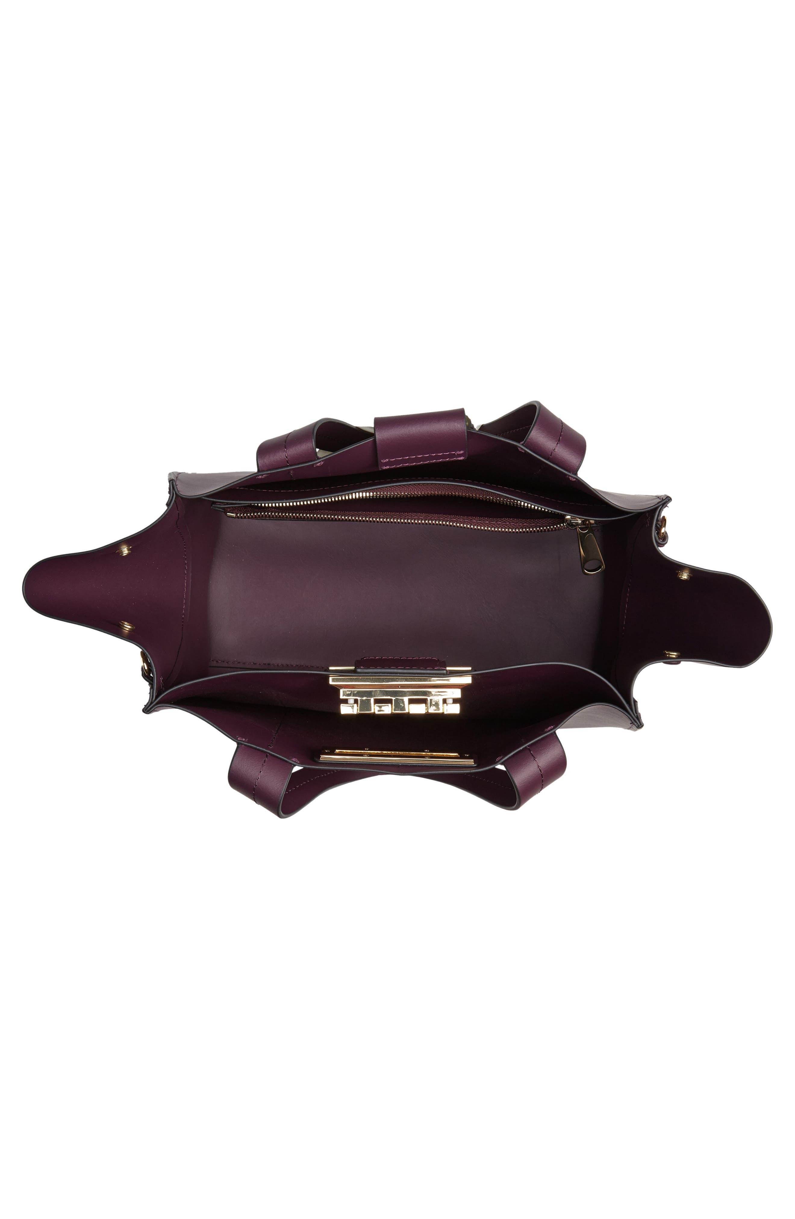 Small Eartha Iconic Calfskin Leather Satchel,                             Alternate thumbnail 4, color,                             VINEYARD