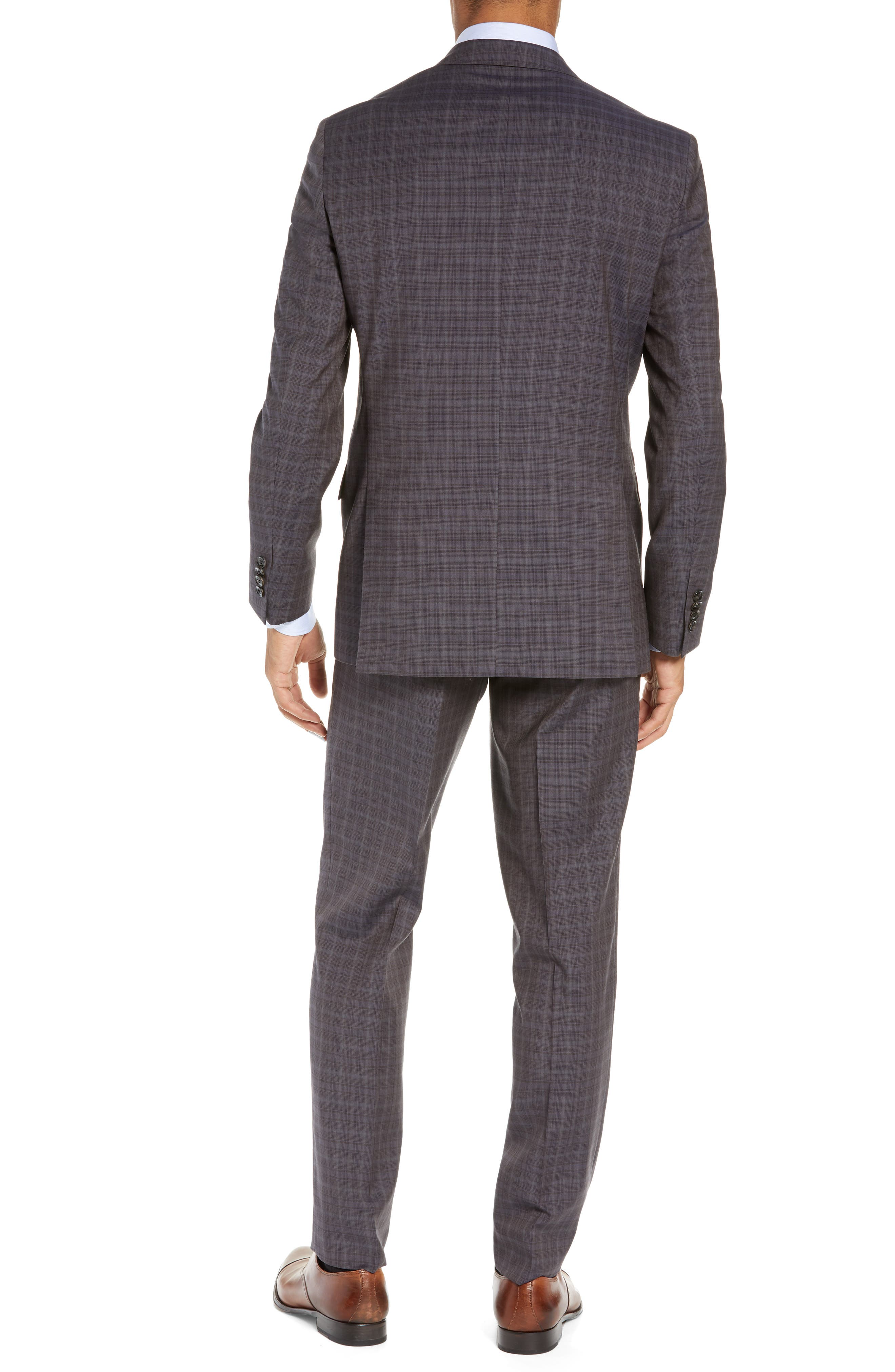TED BAKER LONDON,                             Jay Trim Fit Plaid Wool Suit,                             Alternate thumbnail 2, color,                             TAUPE