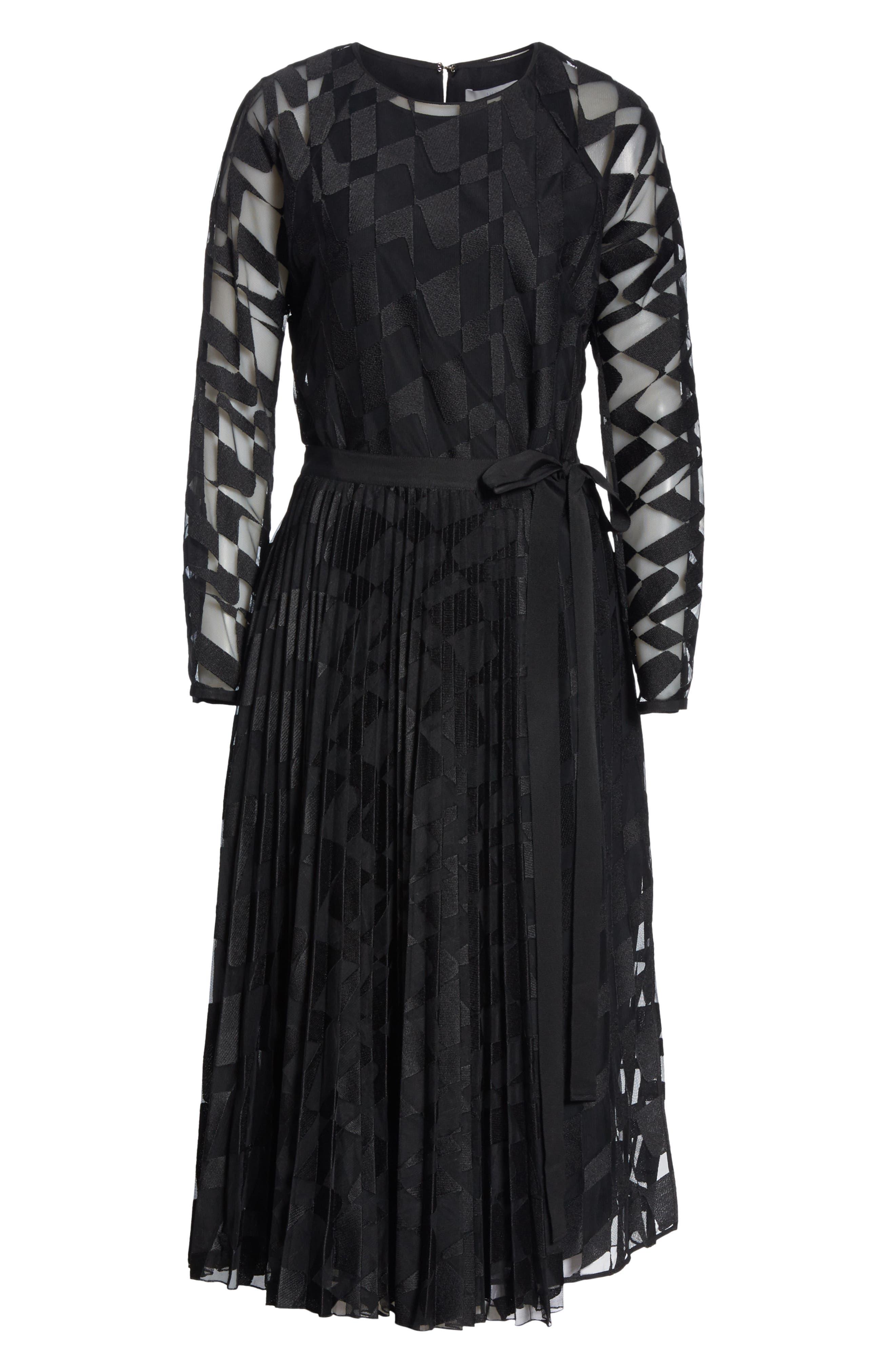 Dalace Pleat & Geo Print Midi Dress,                             Alternate thumbnail 6, color,                             BLACK