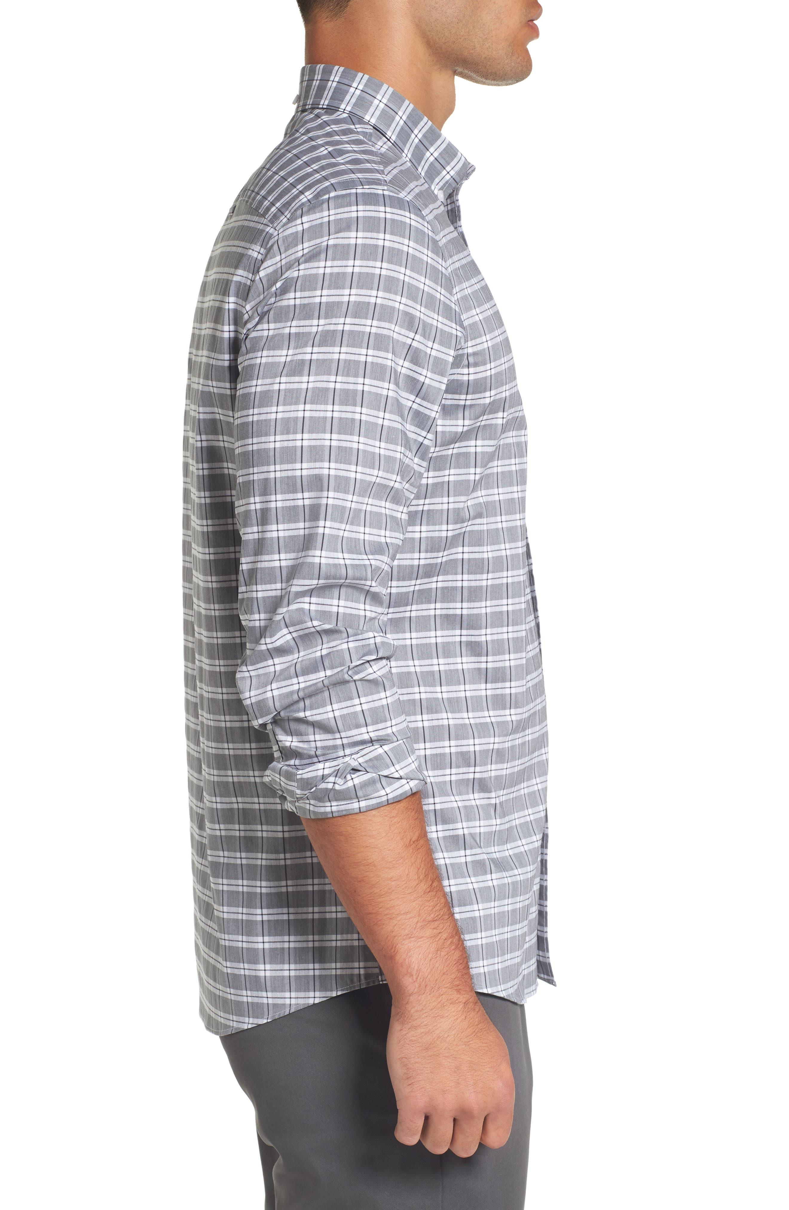 Trim Fit Tech-Smart Heather Check Sport Shirt,                             Alternate thumbnail 3, color,                             030