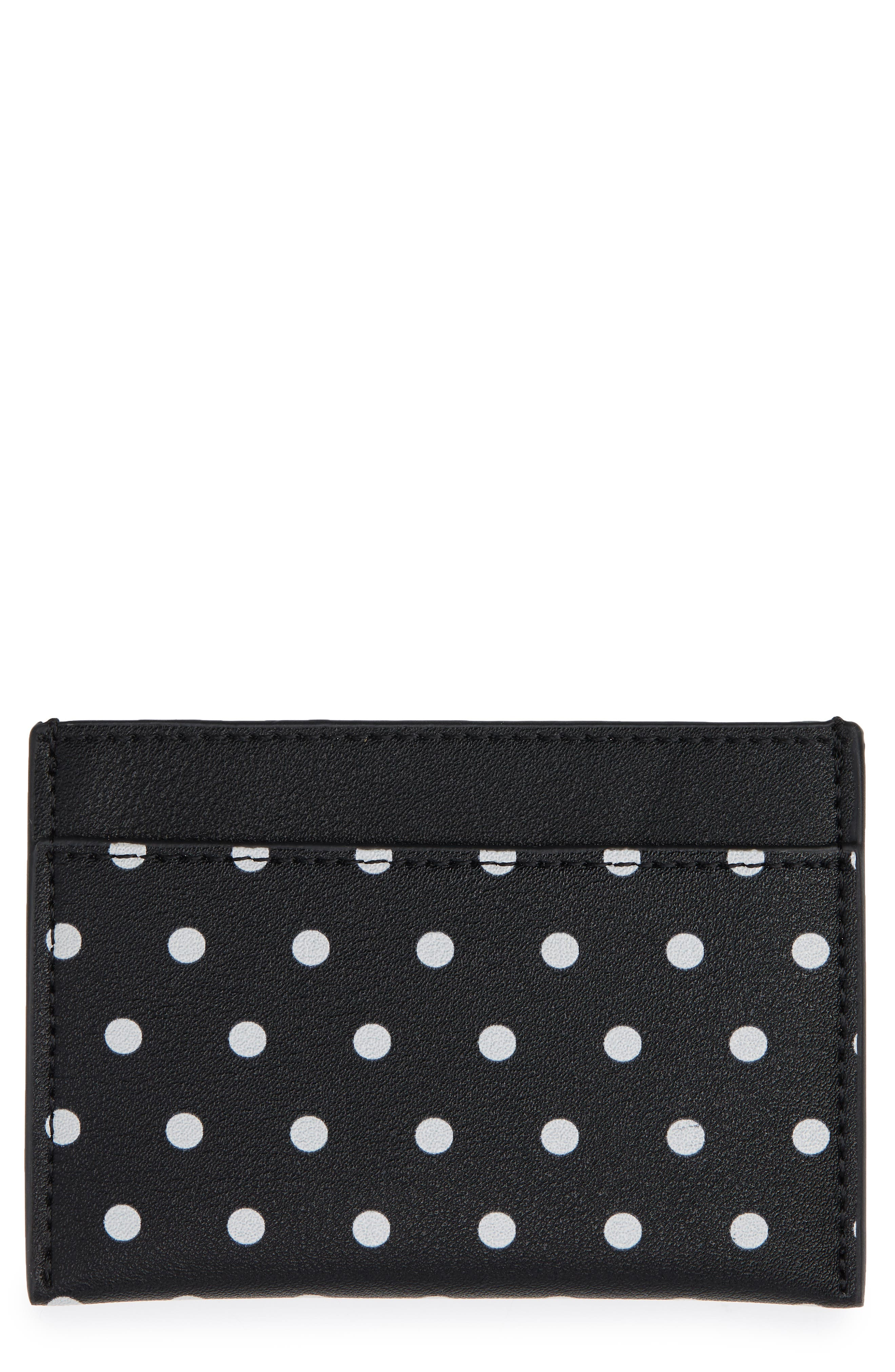 Polka Dot Faux Leather Card Case,                             Main thumbnail 1, color,                             100