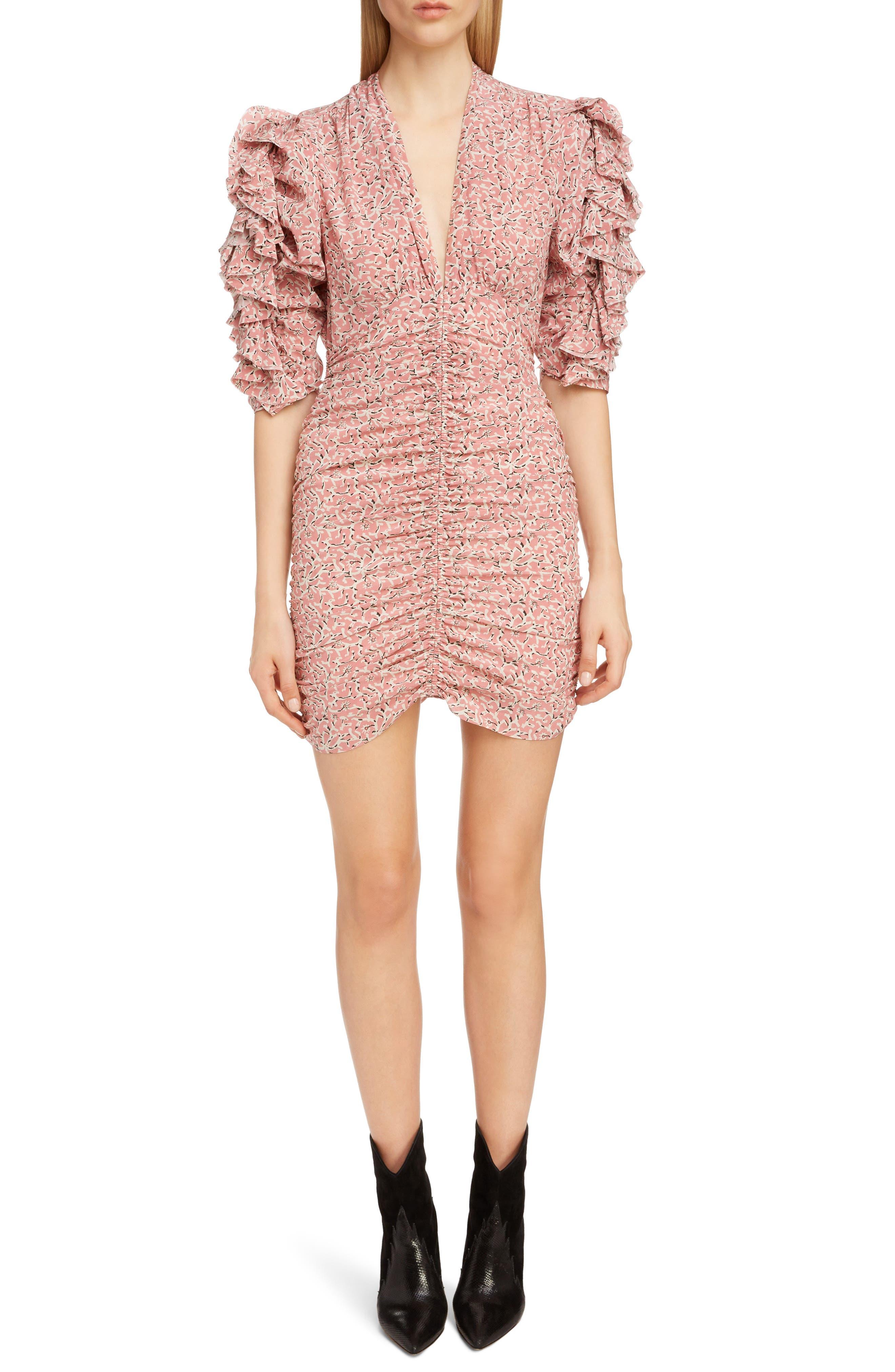 Print Silk Puff Sleeve Dress, Main, color, 650