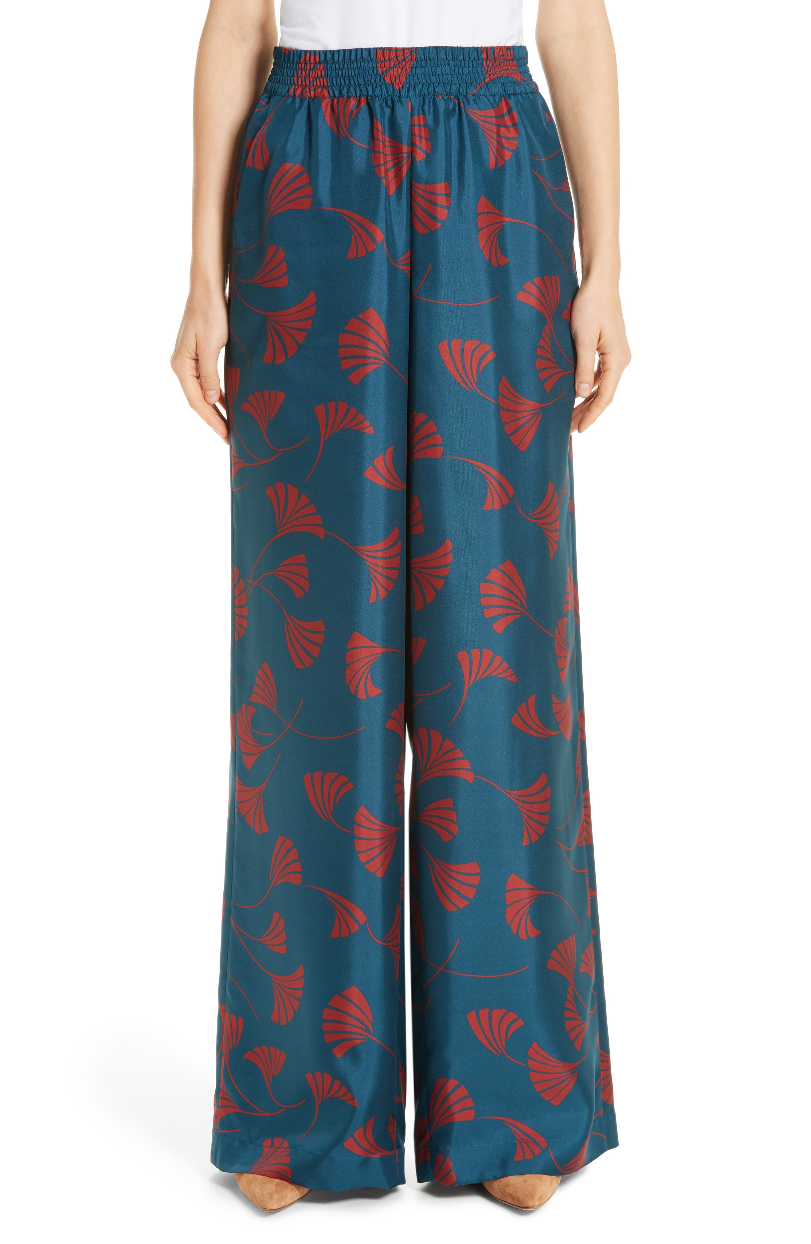 Hester Silk Wide Leg Pants,                             Main thumbnail 1, color,                             EMPRESS TEAL MULTI