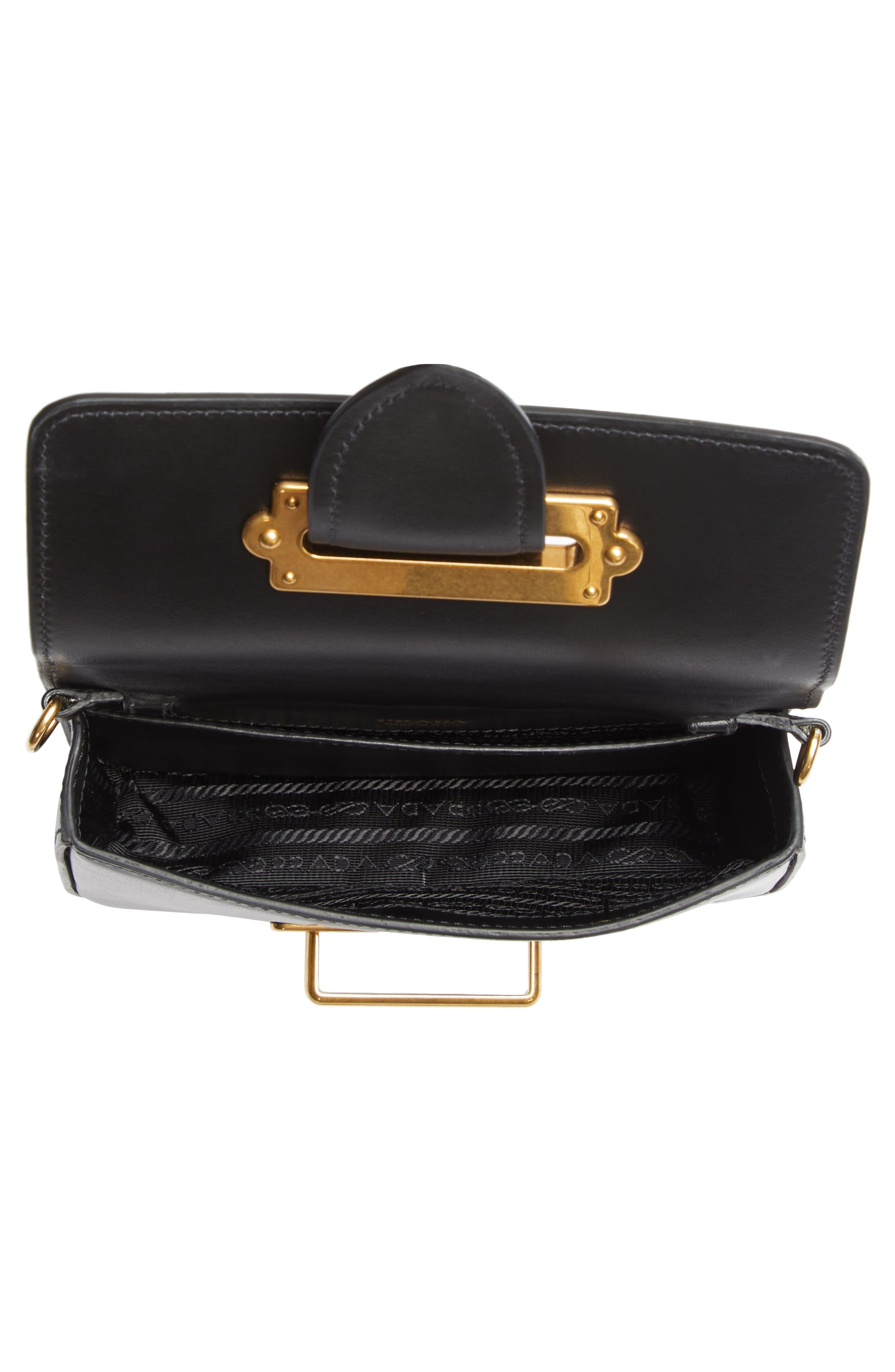 Cahier Calfskin Leather Convertible Belt Bag,                             Alternate thumbnail 4, color,                             001