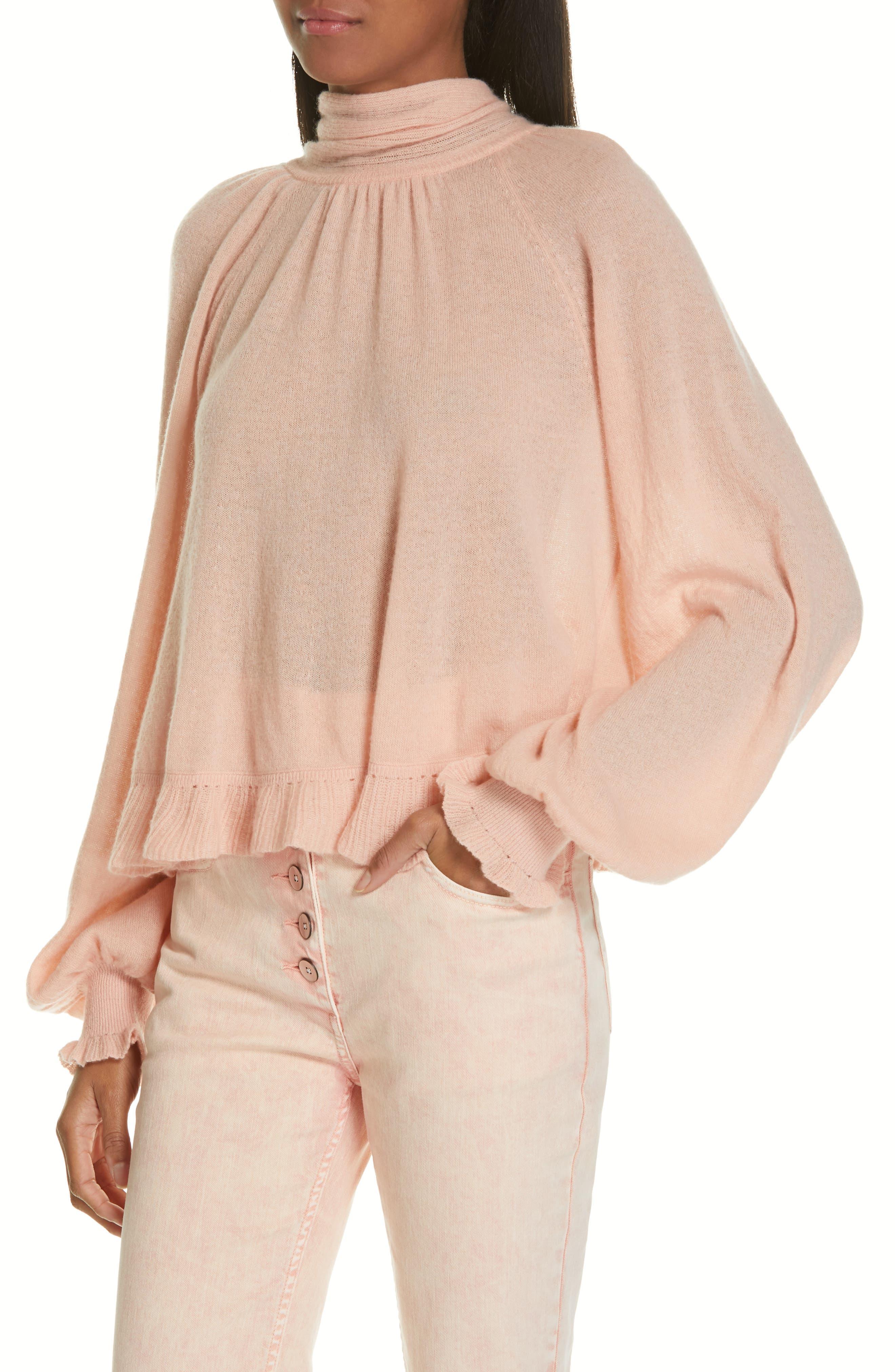 Clover Tie Back Cashmere Blend Sweater,                             Alternate thumbnail 4, color,                             ROSE