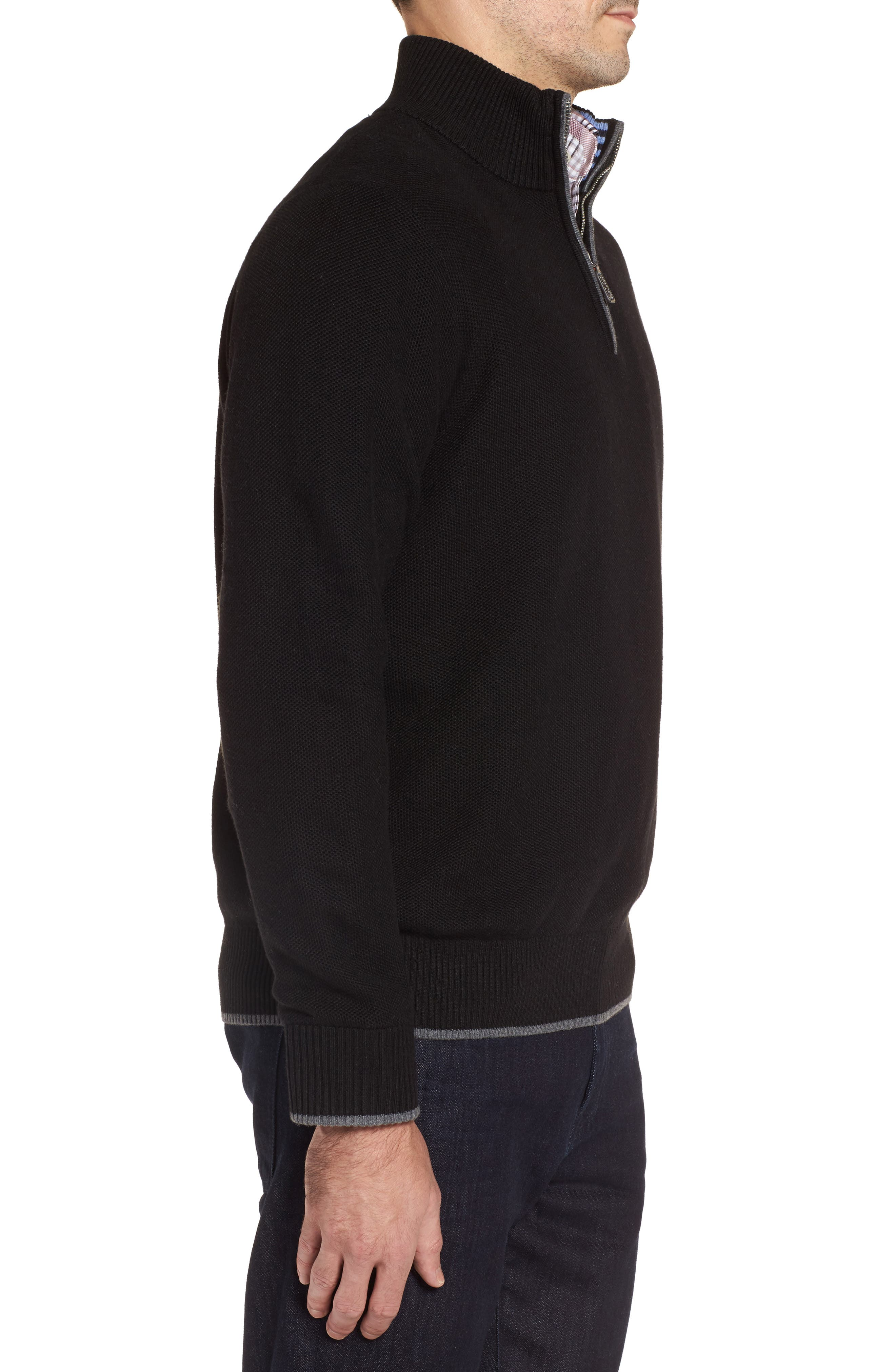 Lafitte Tipped Quarter Zip Sweater,                             Alternate thumbnail 3, color,                             001