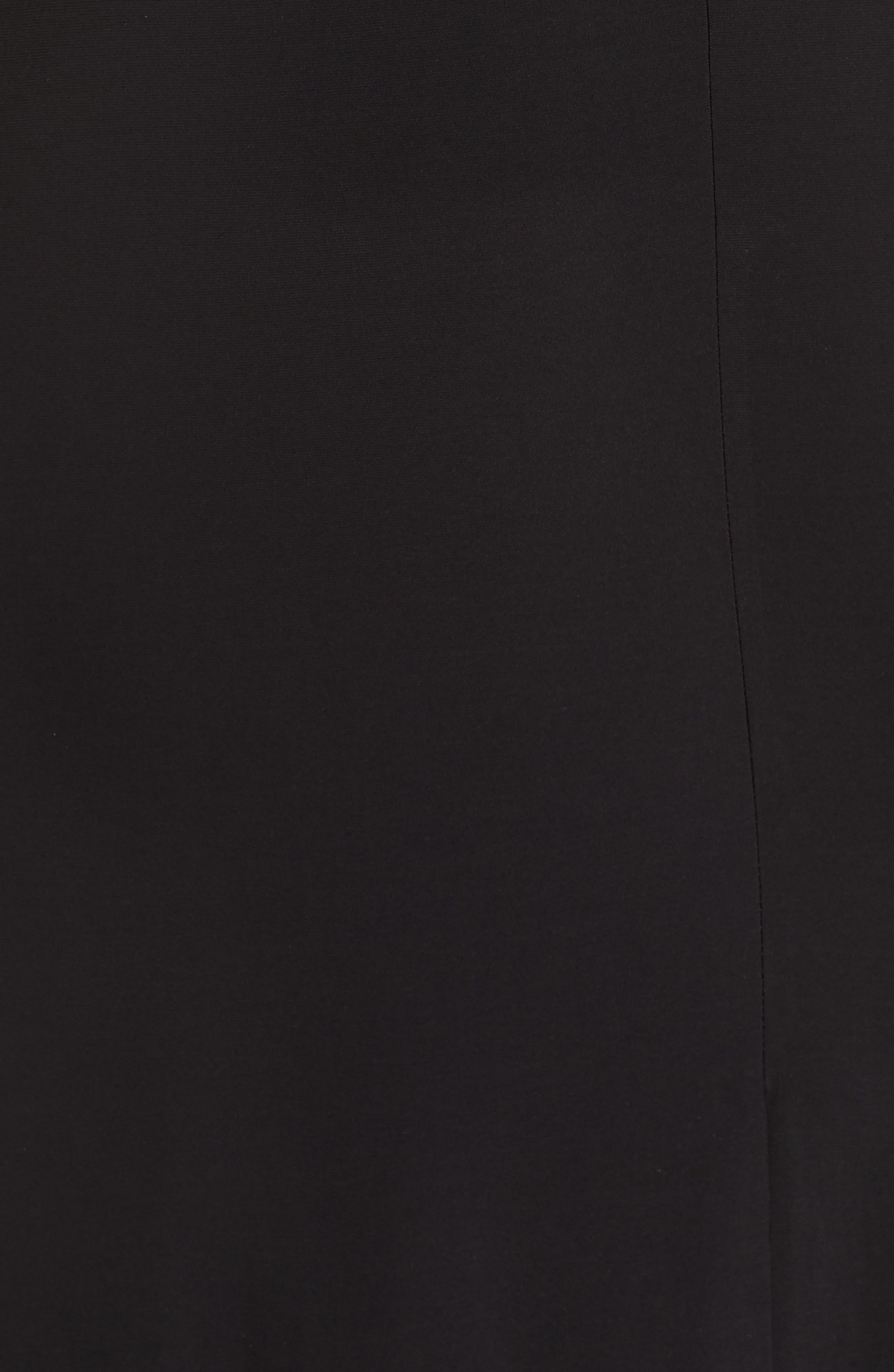 Sequin Bodice Illusion Neck Gown,                             Alternate thumbnail 5, color,                             BLACK