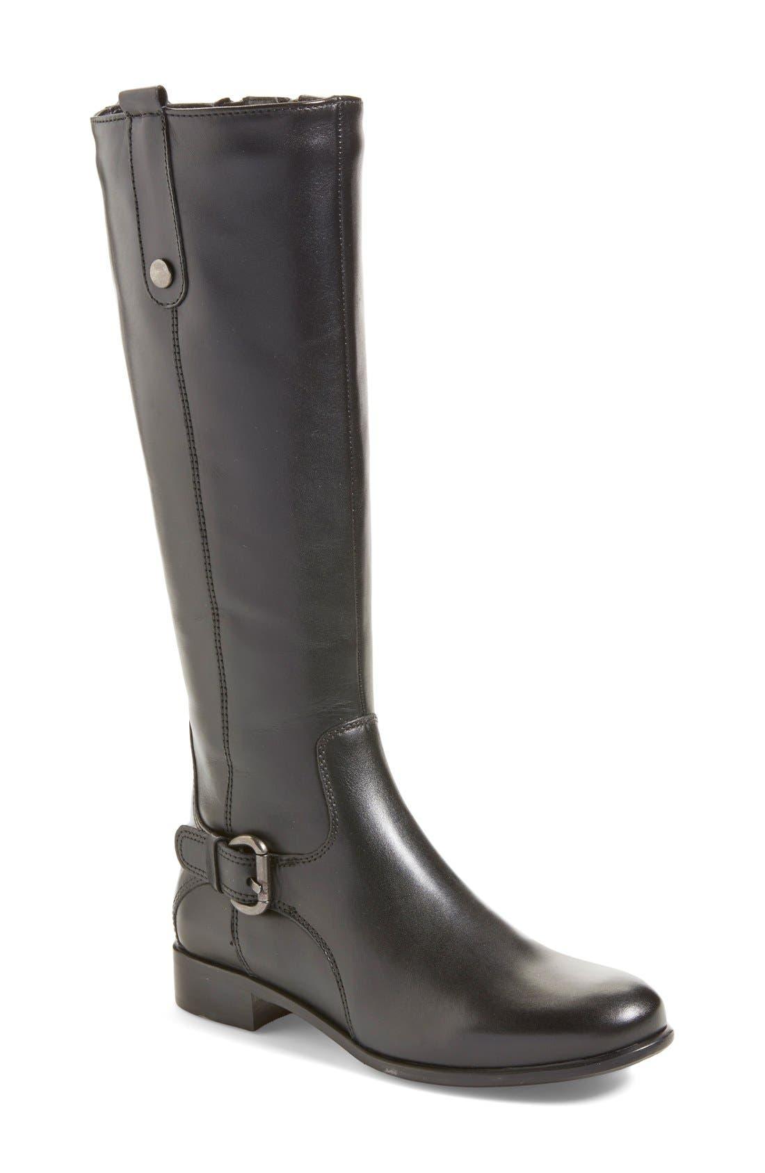 'Stefanie' Waterproof Boot,                             Main thumbnail 1, color,                             BLACK LEATHER
