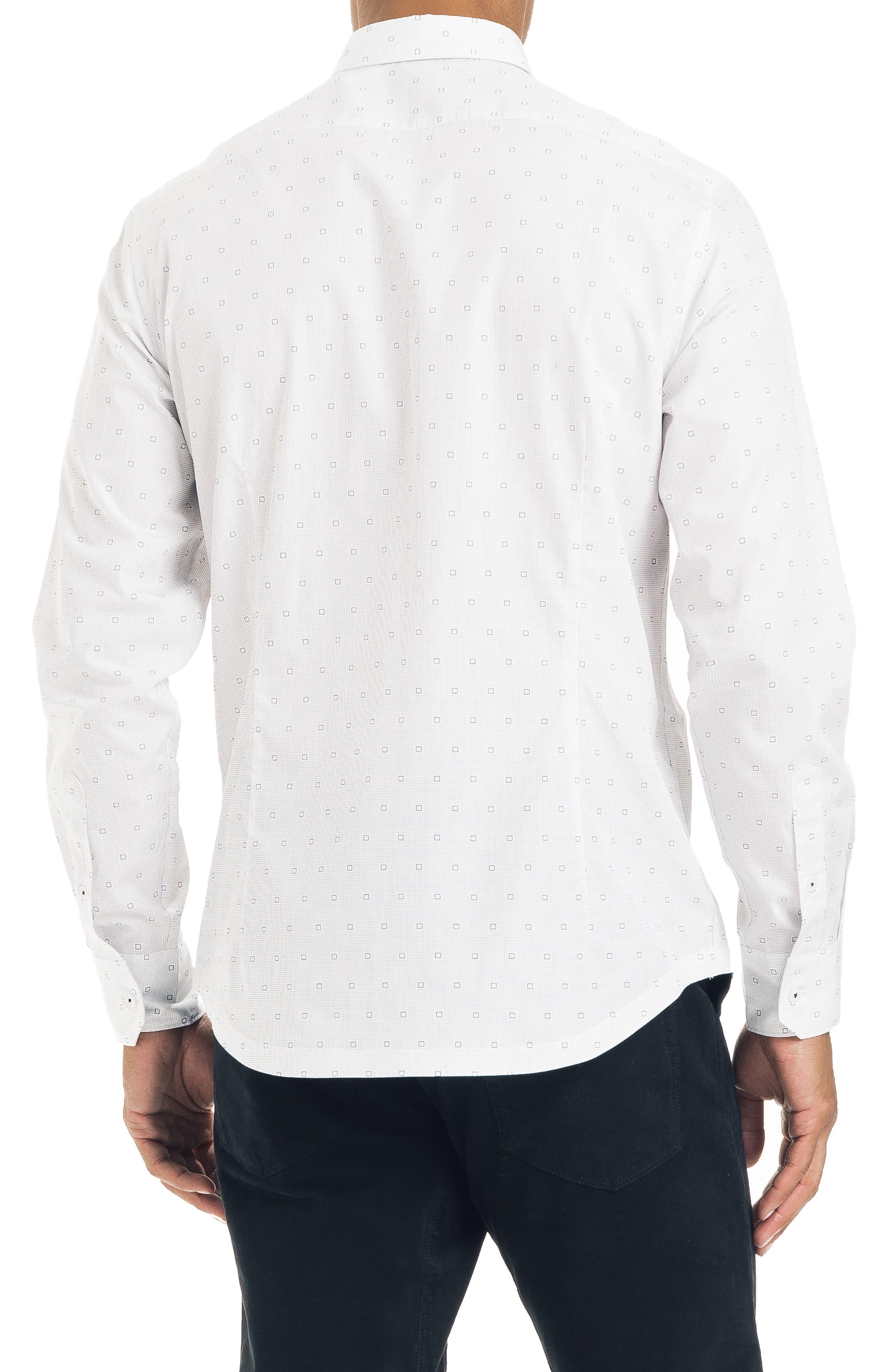 Slim Fit Geometric Sport Shirt,                             Alternate thumbnail 2, color,                             WHITE