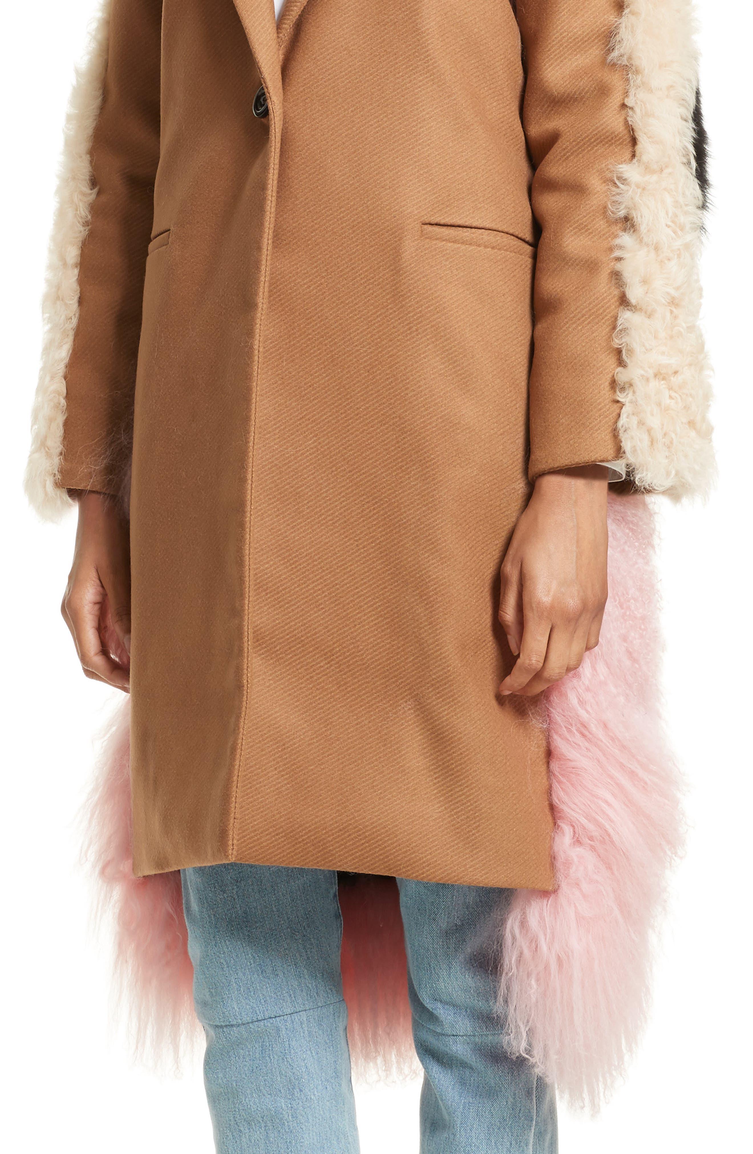 Mingo Wool Blend & Genuine Shearling Coat,                             Alternate thumbnail 4, color,                             250