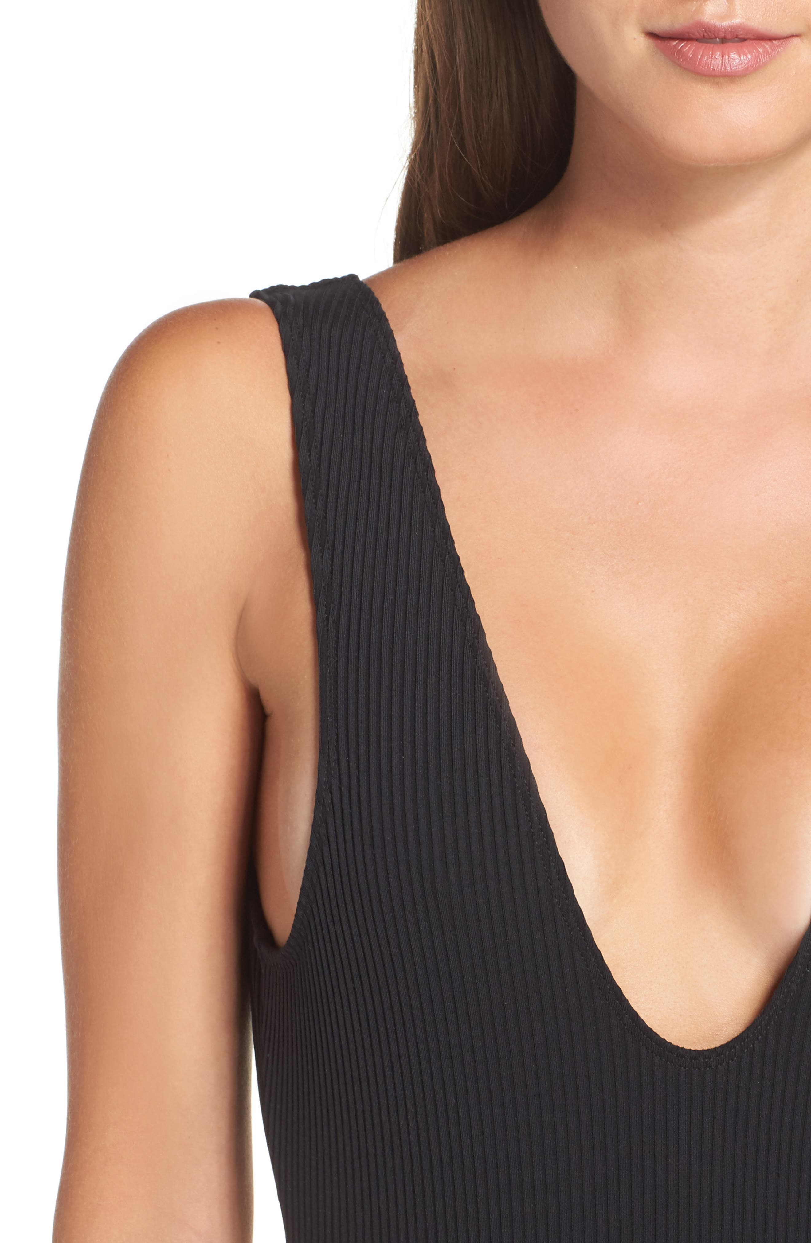 Tyler Ribbed One-Piece Swimsuit,                             Alternate thumbnail 4, color,                             001