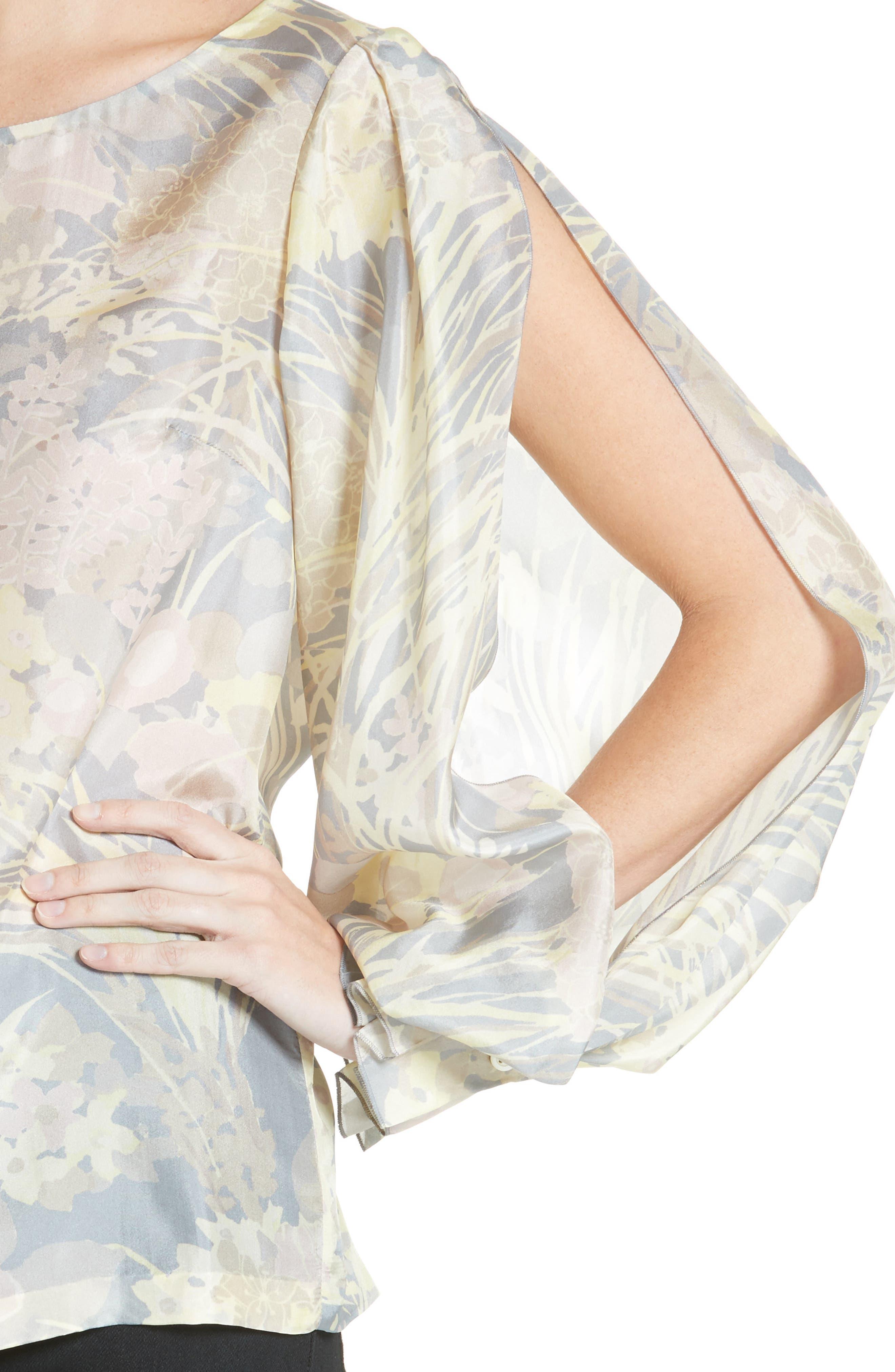 Floral Silk Blouse,                             Alternate thumbnail 4, color,                             020
