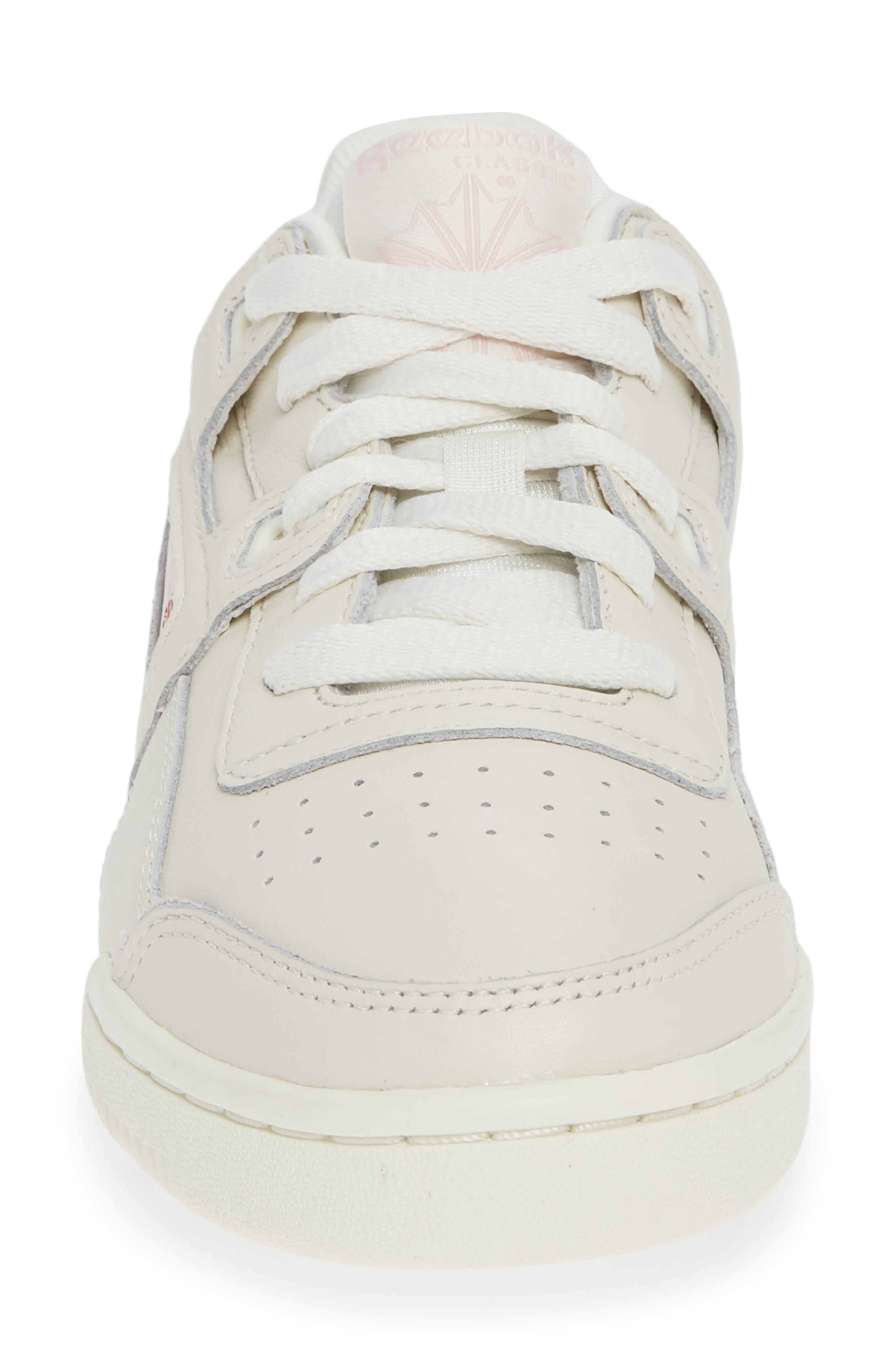 Workout Low Plus Sneaker,                             Alternate thumbnail 4, color,                             WHITE/ PRACTICAL PINK