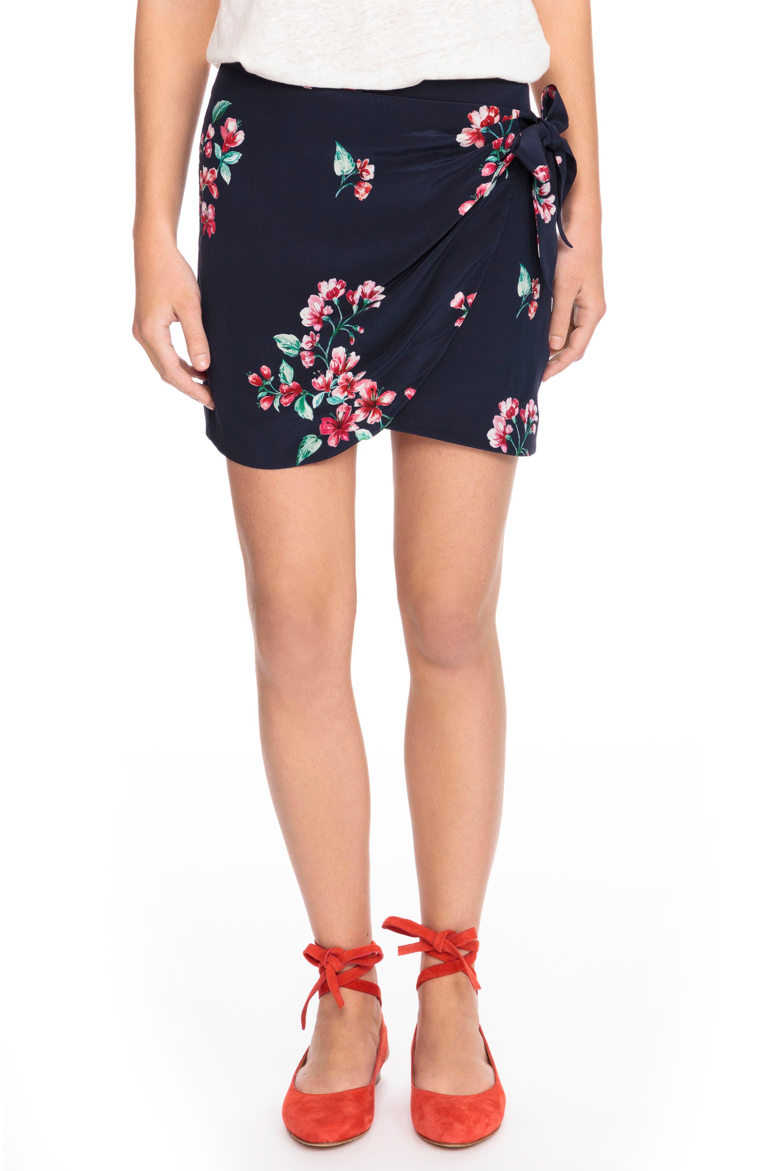 Pacome Floral Silk Skirt,                             Main thumbnail 1, color,                             400