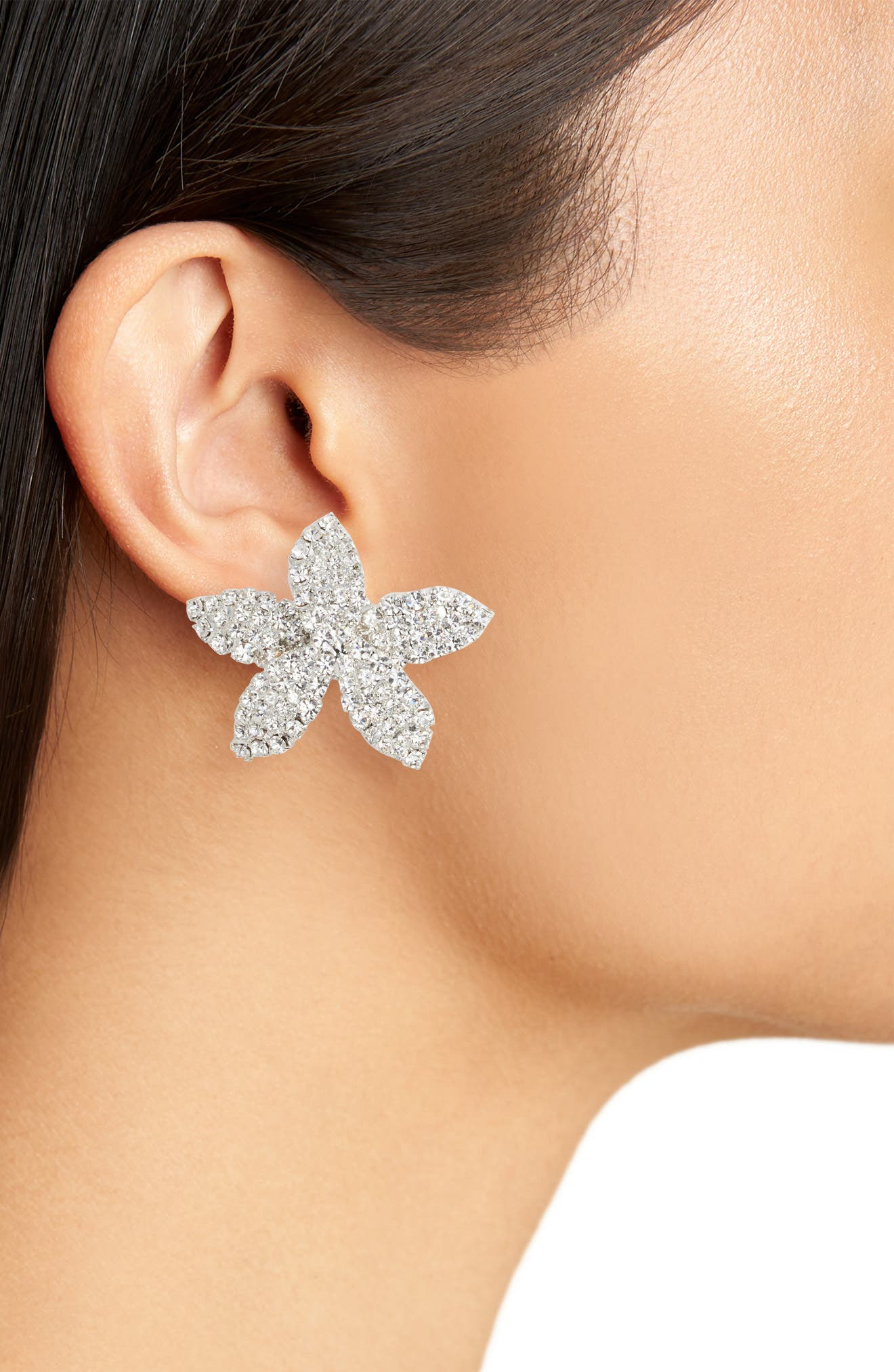 Small Flower Crystal Post Earrings,                             Alternate thumbnail 3, color,