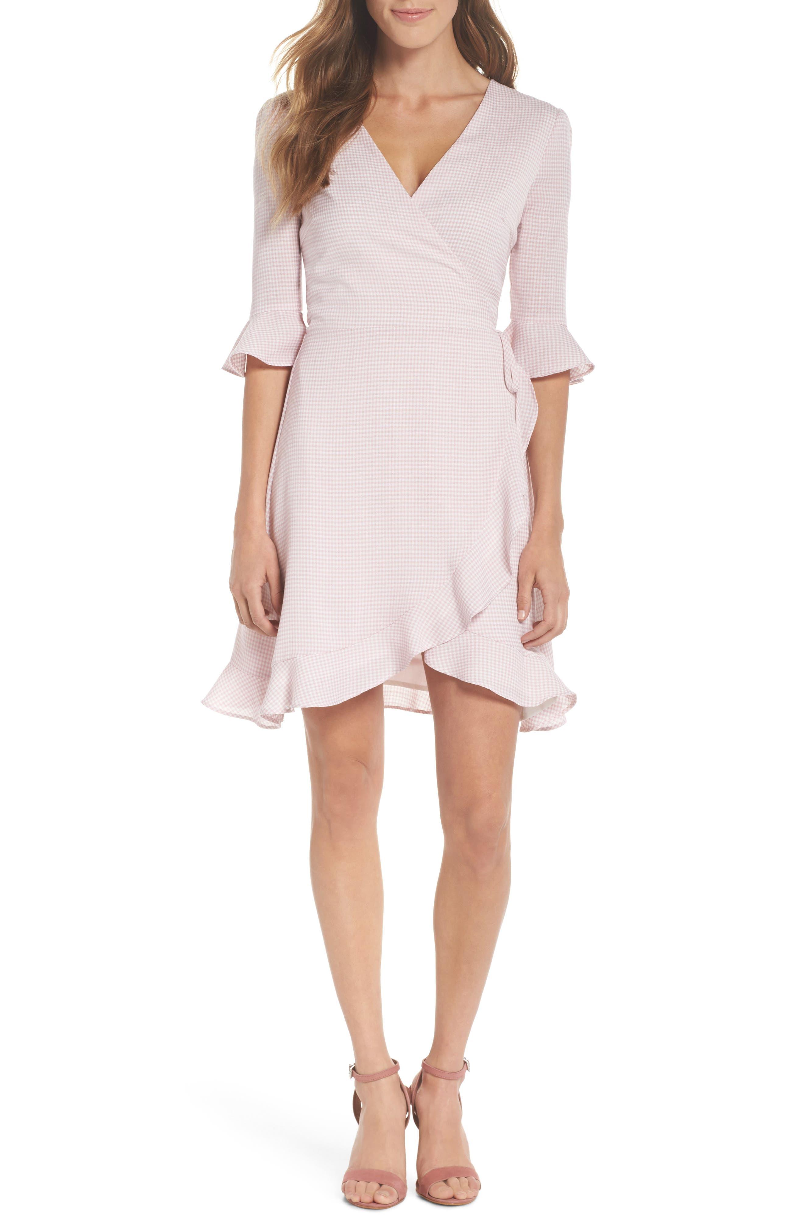 Gingham Wrap Dress,                             Main thumbnail 1, color,