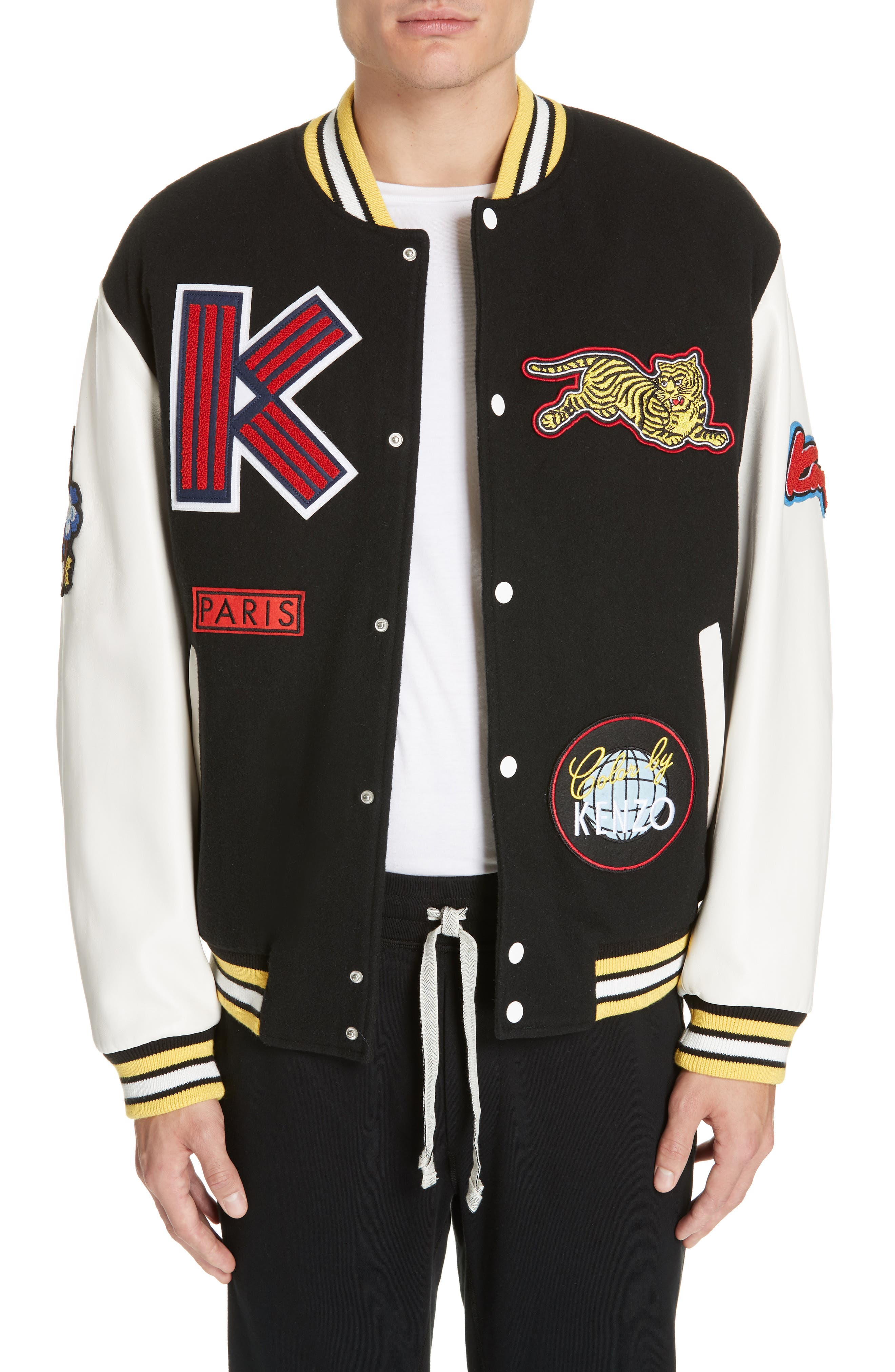 Embroidered Varsity Jacket,                         Main,                         color, 001
