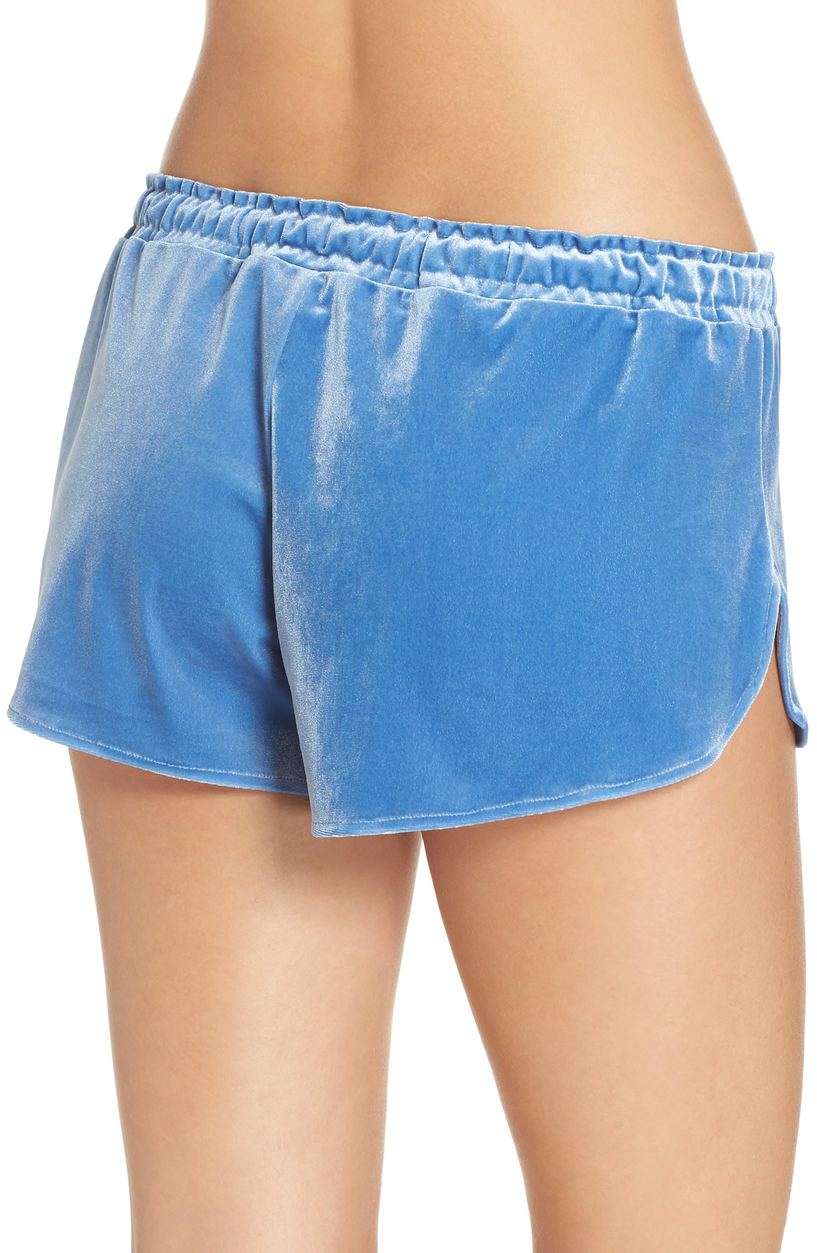 Starry Night Velvet Pajama Shorts,                             Alternate thumbnail 2, color,                             BLUE DELFT