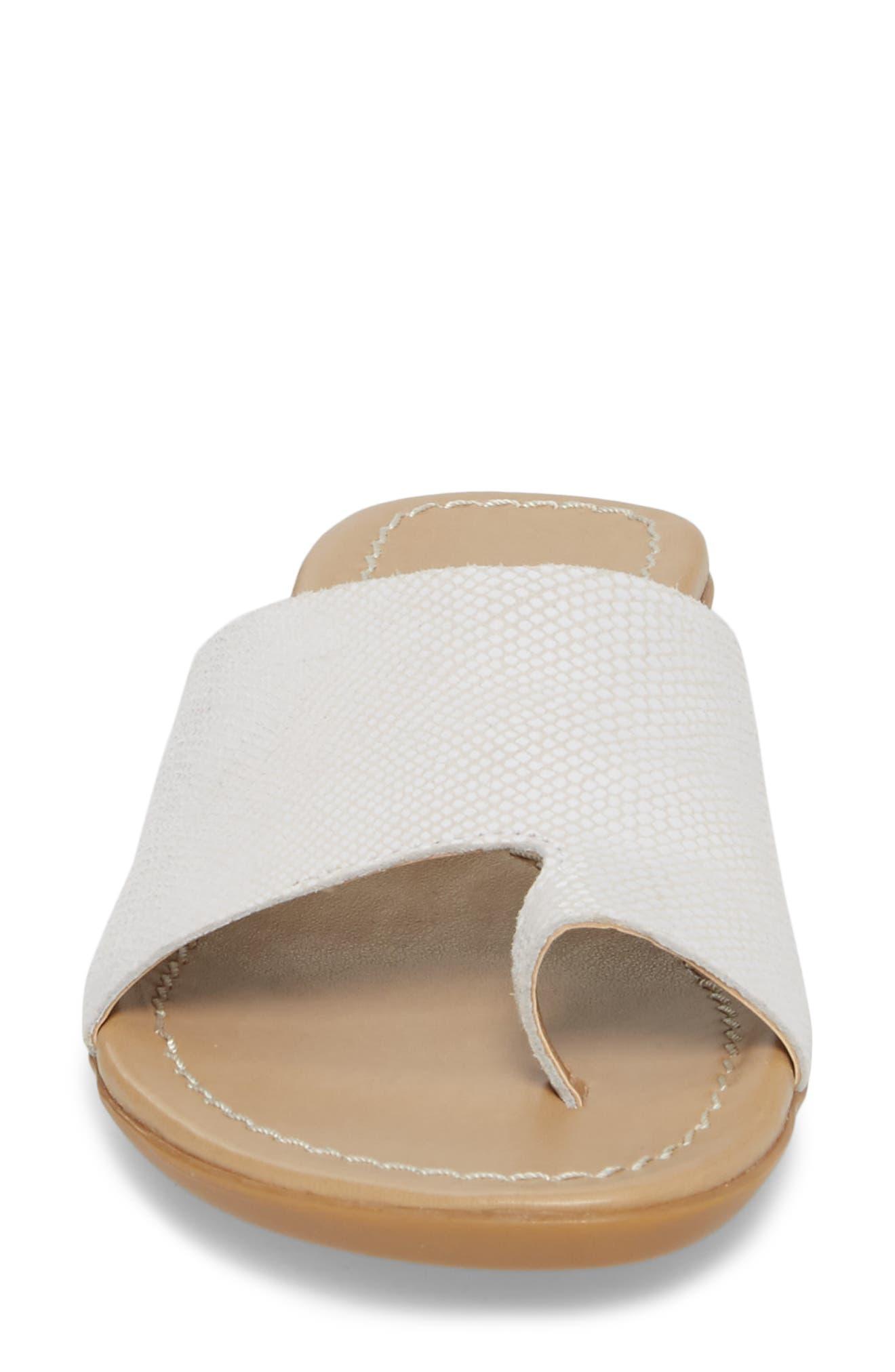 'Tallis' Snake Embossed Leather Slide Sandal,                             Alternate thumbnail 4, color,                             100
