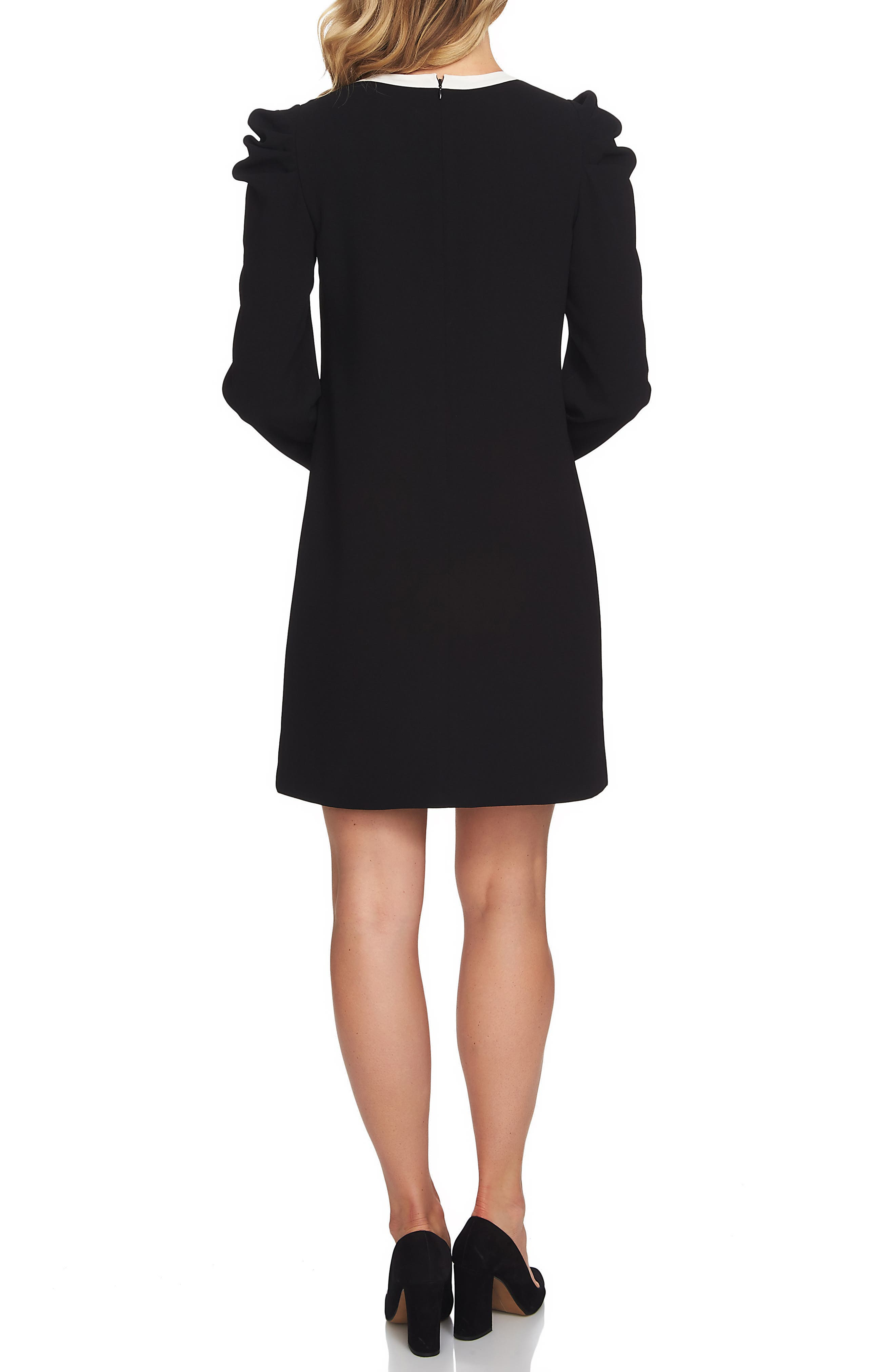 Puff Sleeve Tie Neck Dress,                             Alternate thumbnail 2, color,                             001