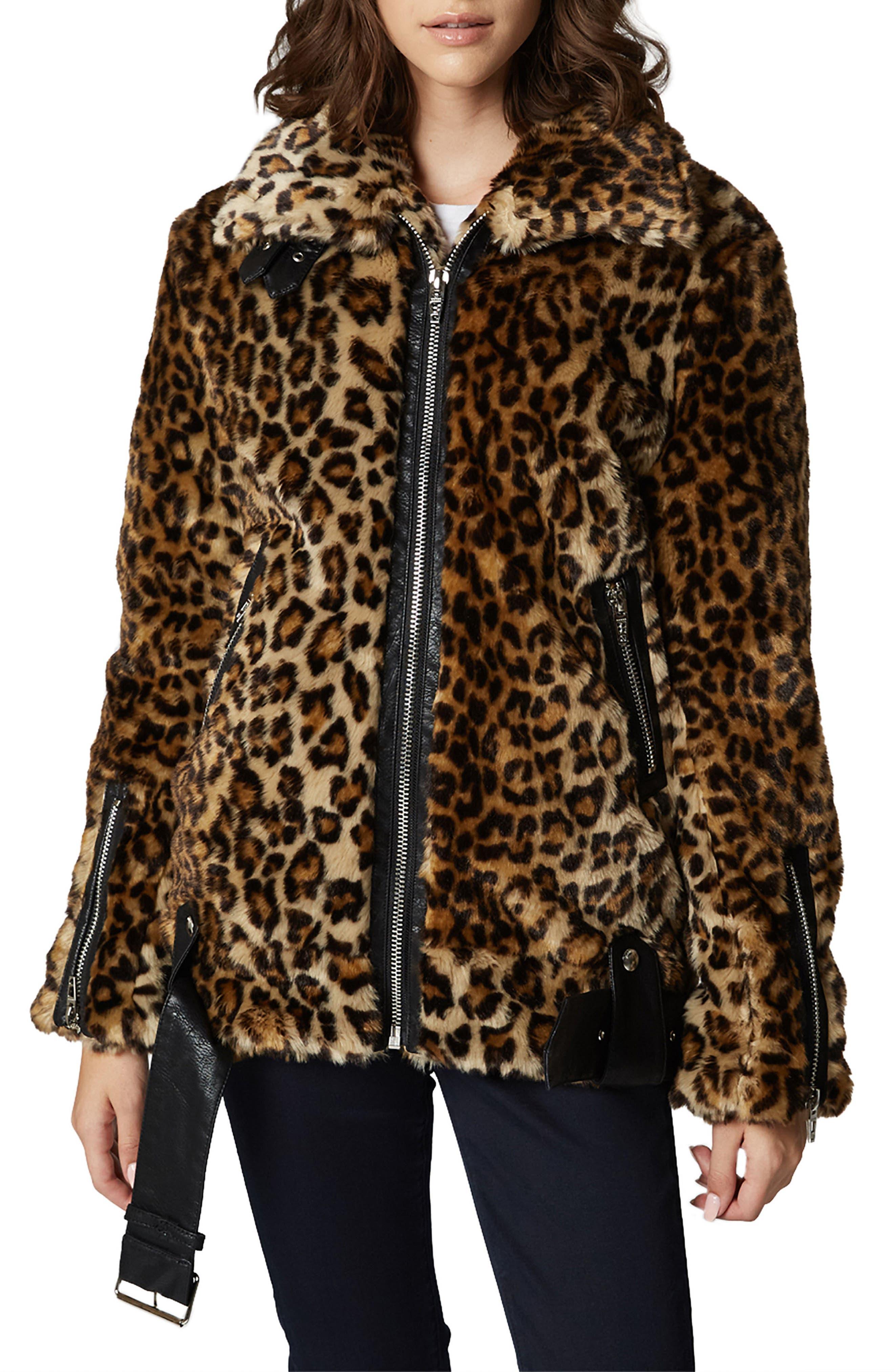 Leopard Faux Fur Jacket,                             Main thumbnail 1, color,                             NOTE TO SELF