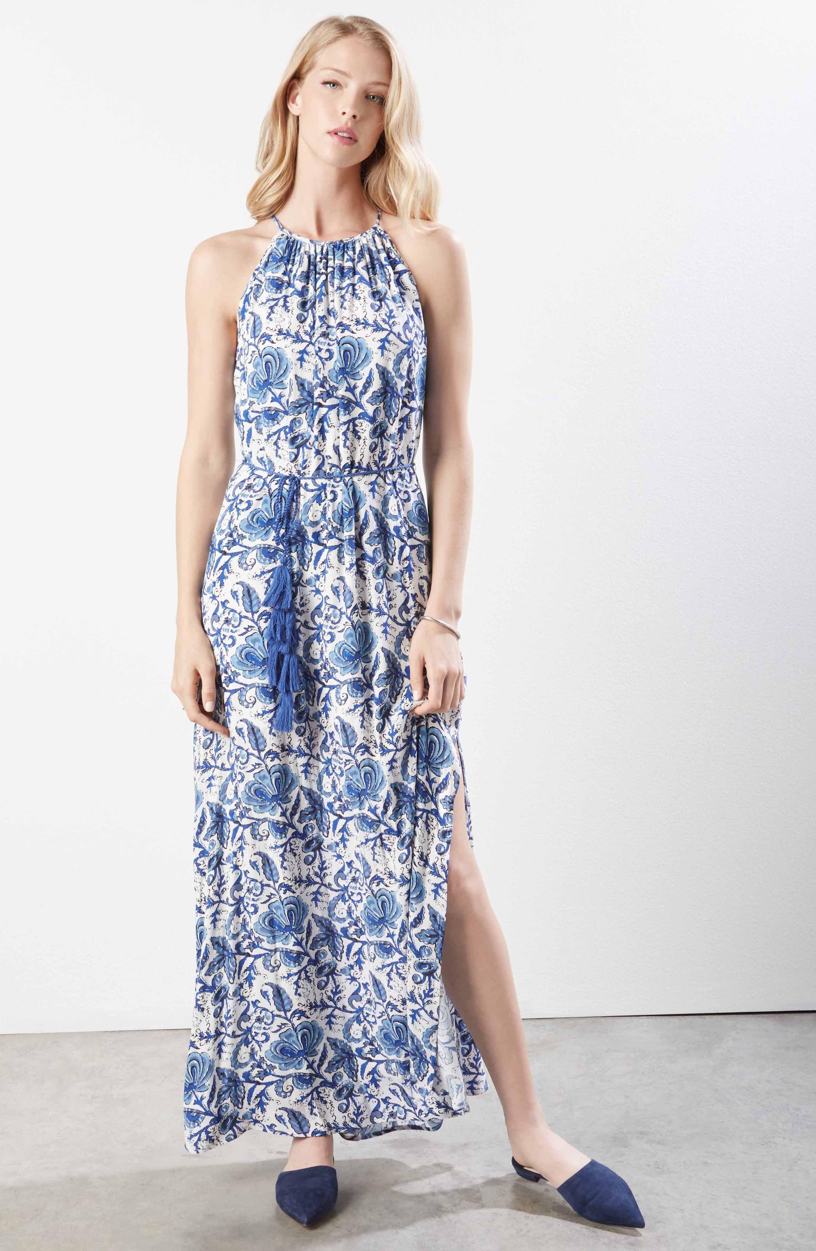 Halter Slit Side Maxi Crepe Dress,                             Alternate thumbnail 4, color,                             460