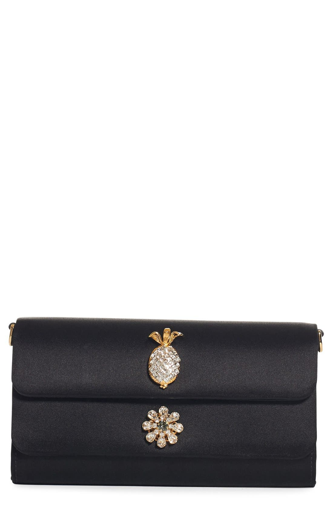 Embellished Satin Clutch,                             Main thumbnail 1, color,
