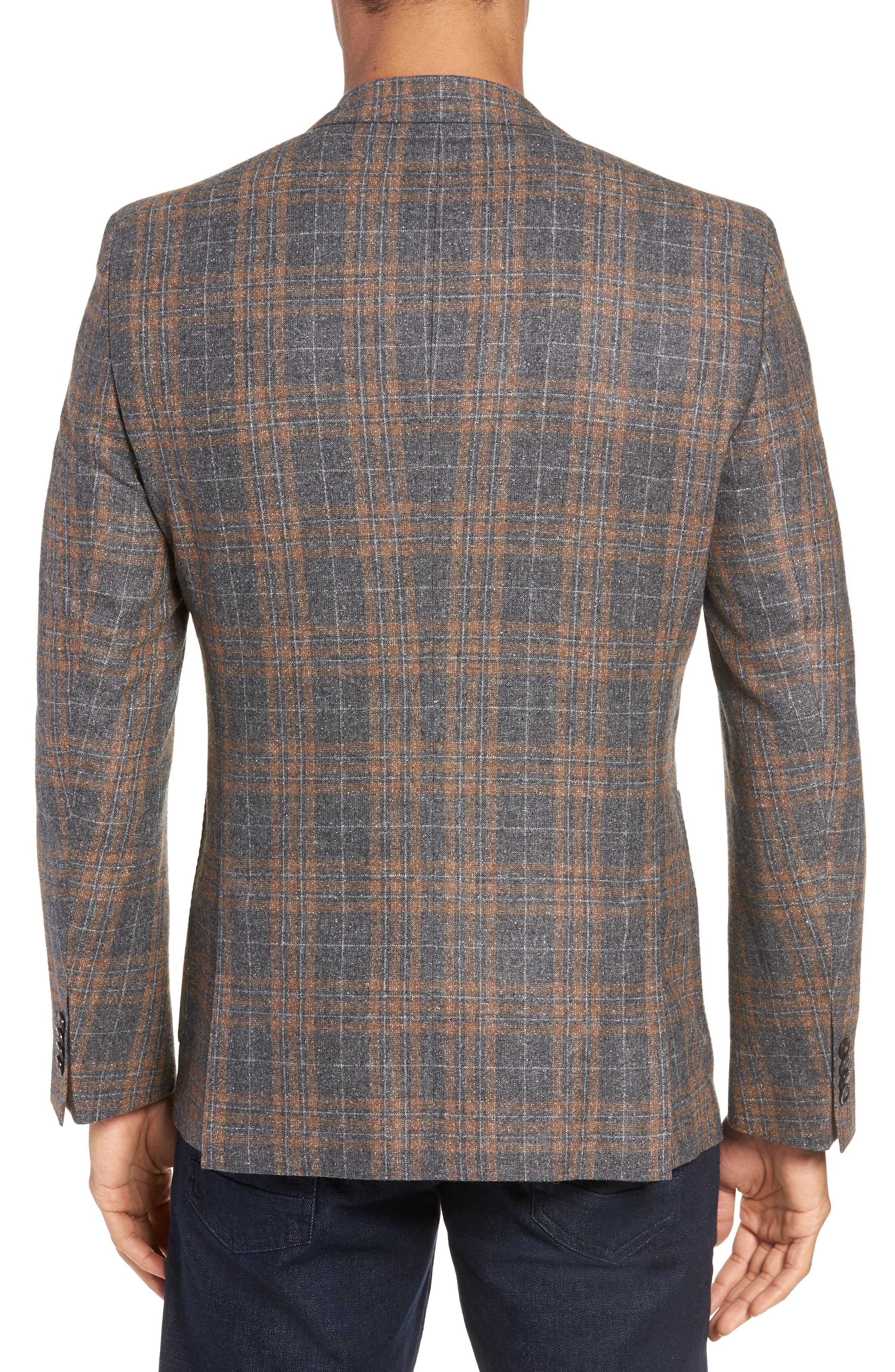 BOSS,                             Janson Classic Fit Plaid Wool Blend Sport Coat,                             Alternate thumbnail 2, color,                             MEDIUM GREY