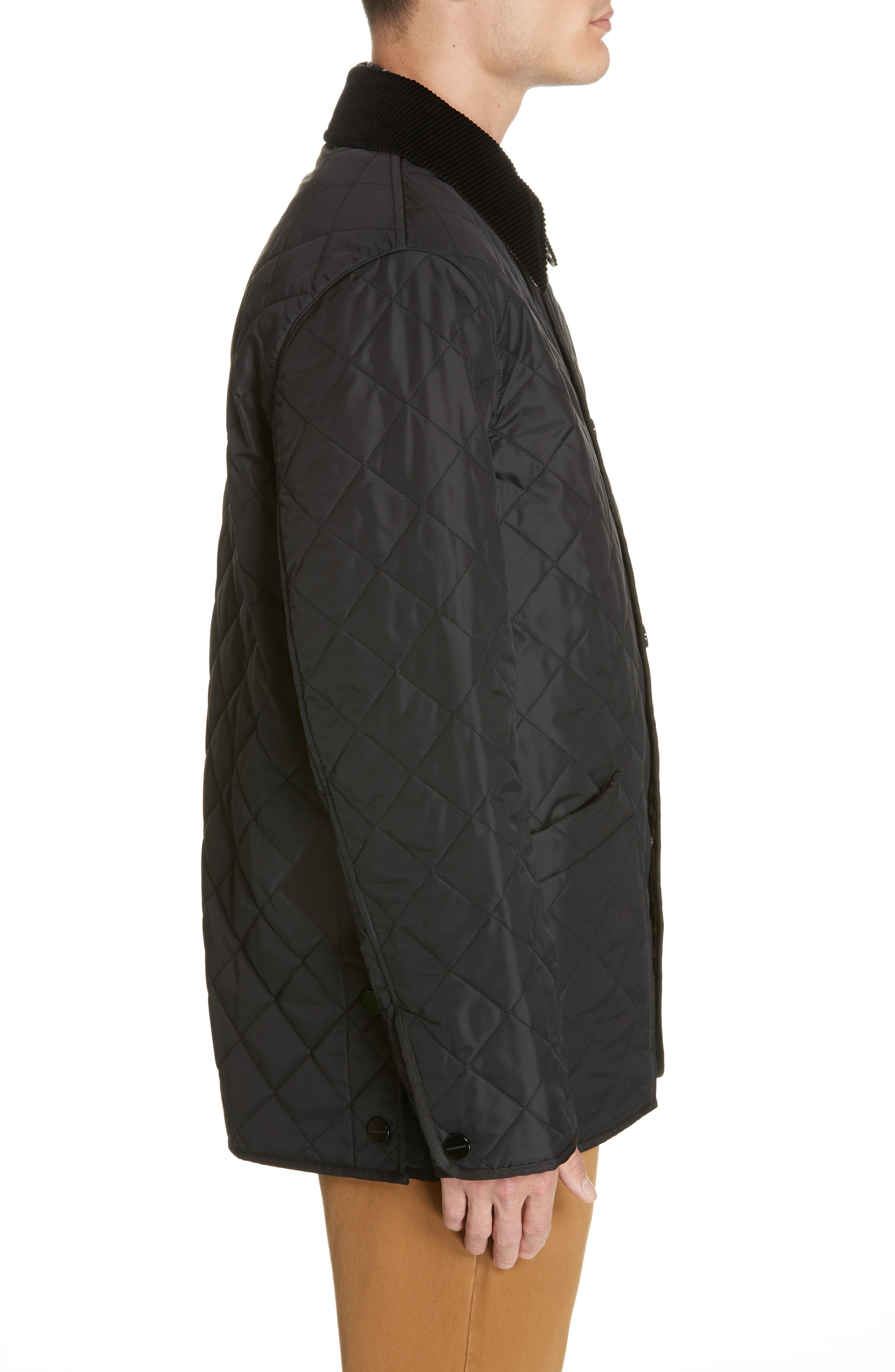 BURBERRY,                             Cotswold Quilted Jacket,                             Alternate thumbnail 3, color,                             BLACK